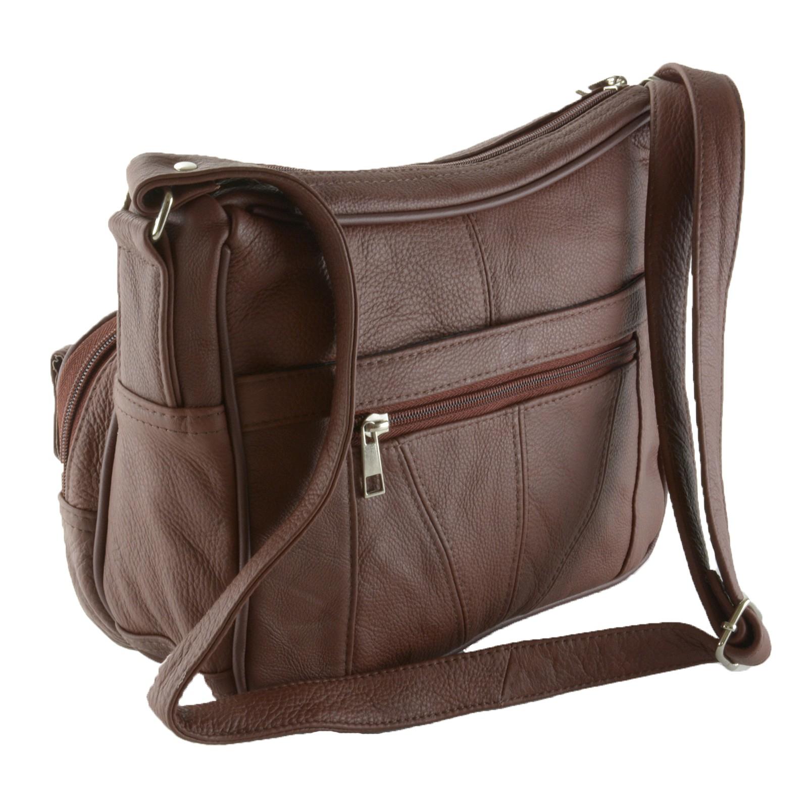 Women s Leather Organizer Purse Shoulder Bag Multiple Pockets Cross ... 14fdf116b9234