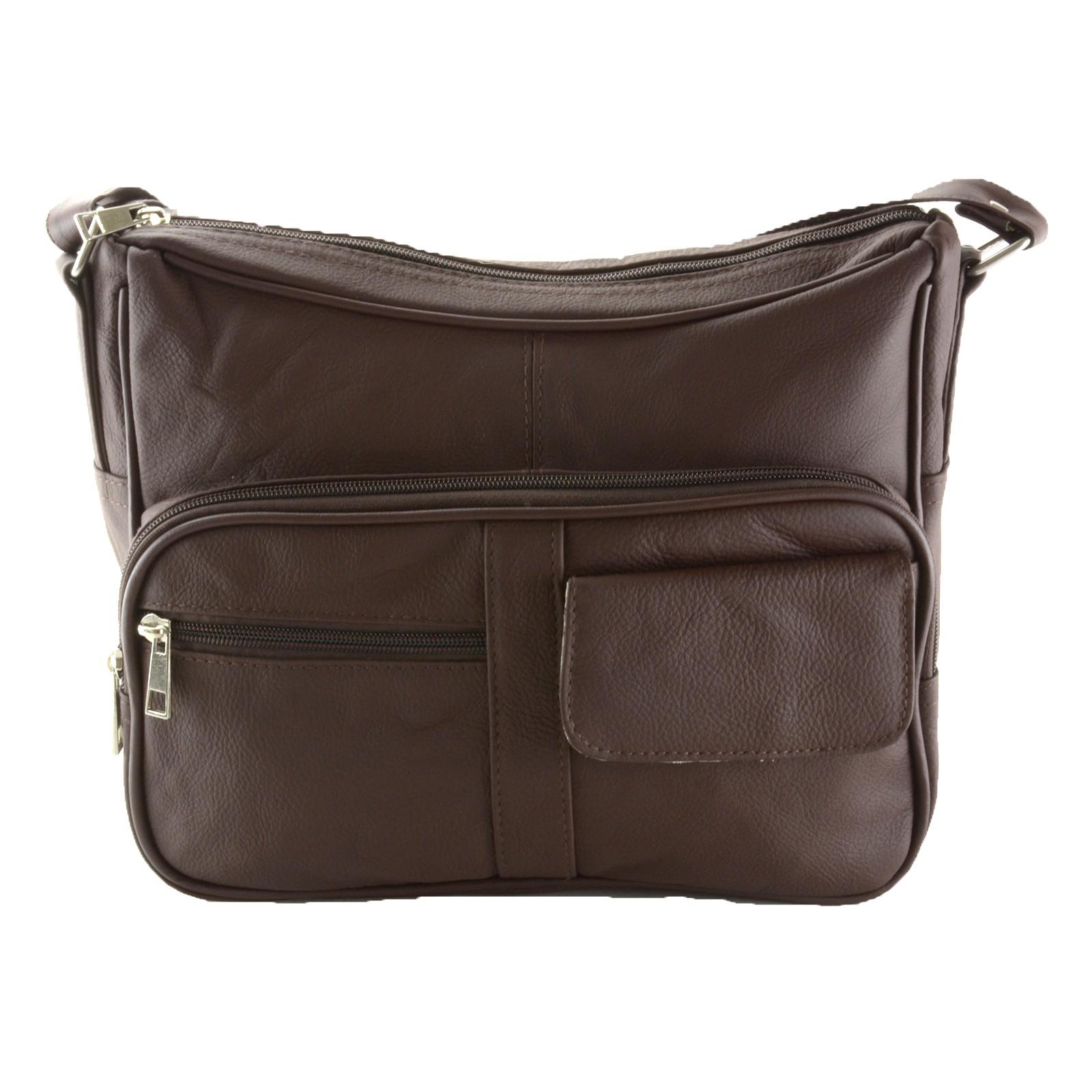 Women s Leather Organizer Purse Shoulder Bag Multiple Pockets Cross ... 9b63215b29af2