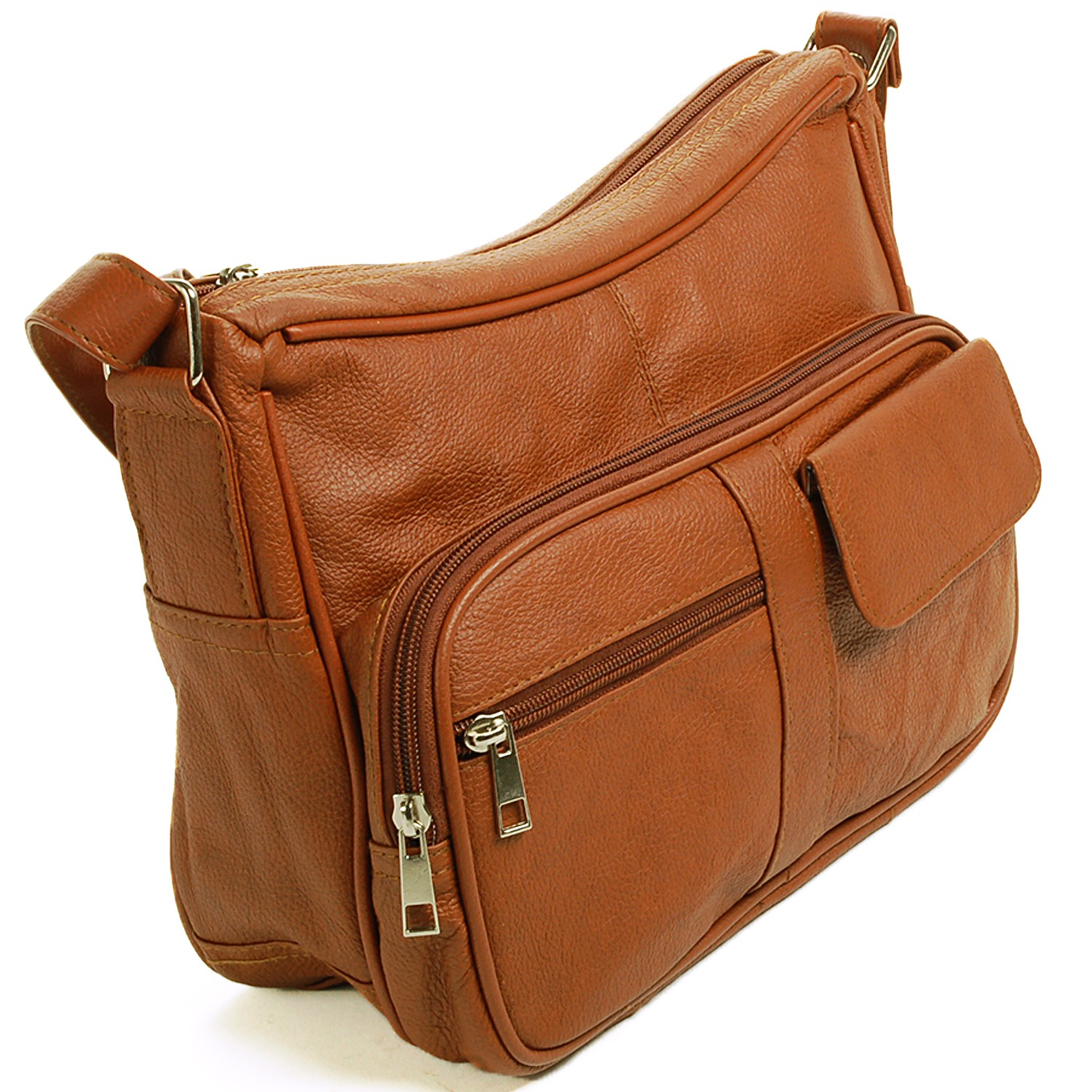 Women's Leather Organizer Purse Shoulder Bag Multiple Pockets ...