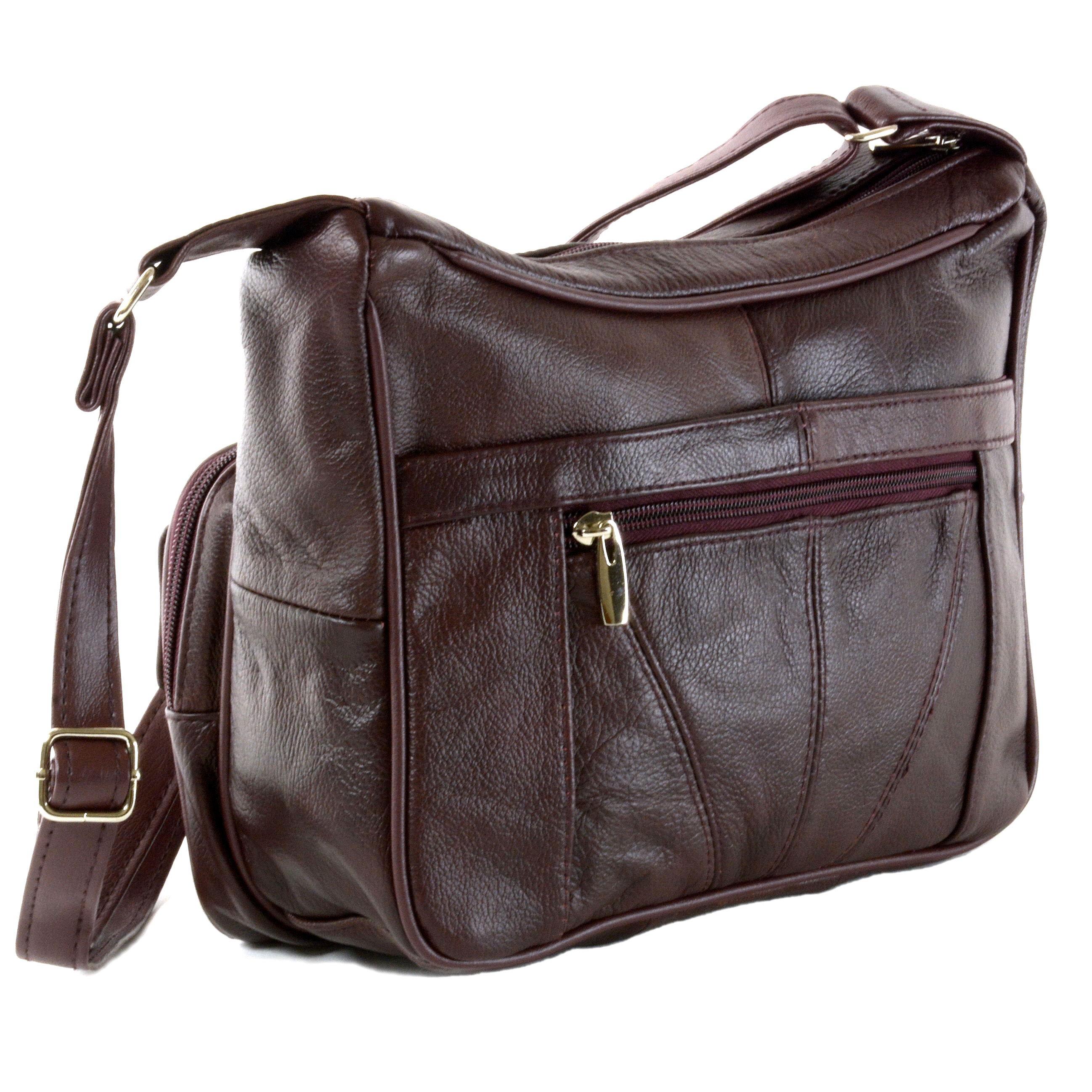 4419f59c78 Women s Leather Organizer Purse Shoulder Bag Multiple Pockets Cross ...