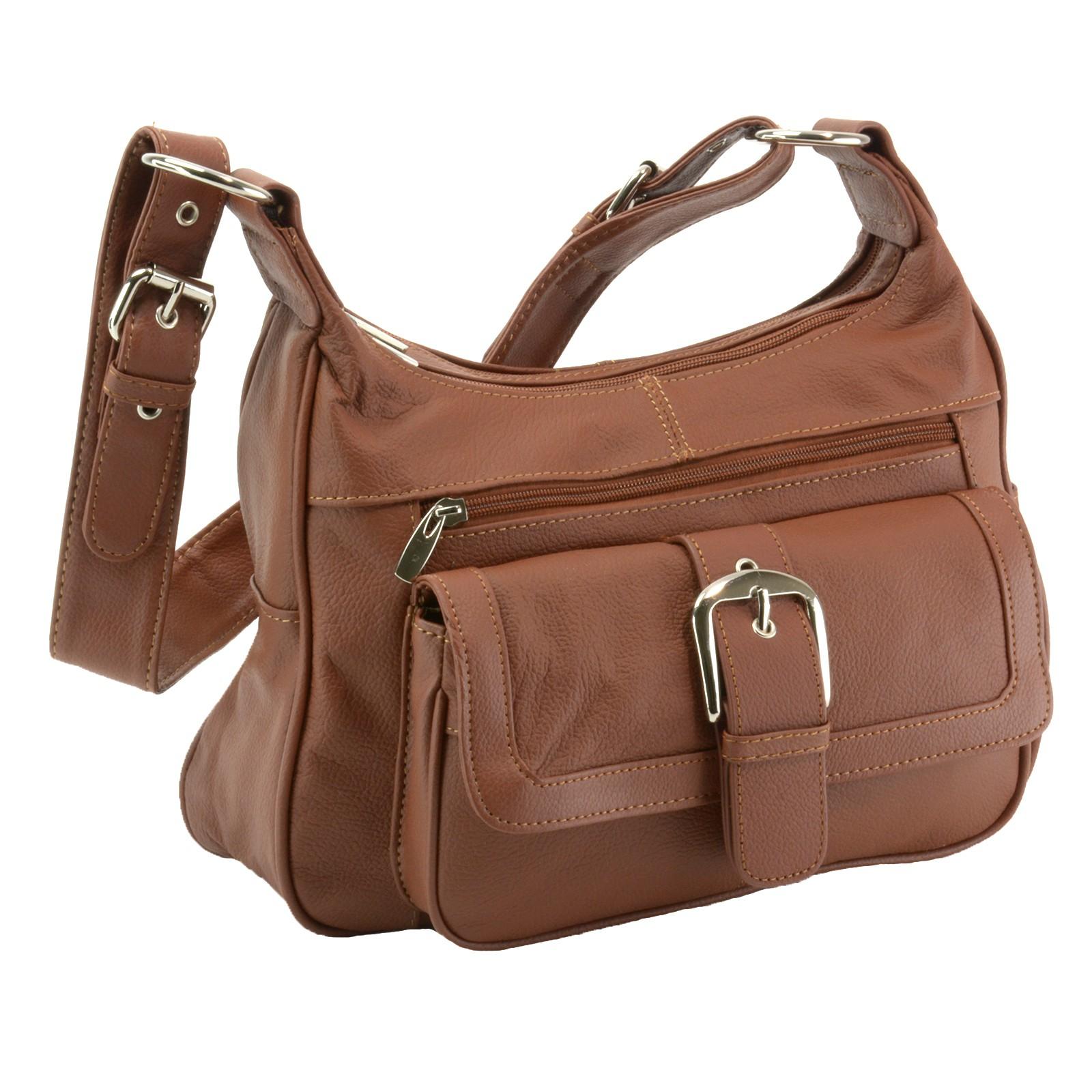 0c589a3817d6 Women s Leather Organizer Purse Multi Pocket Handbag Shoulder Bag .