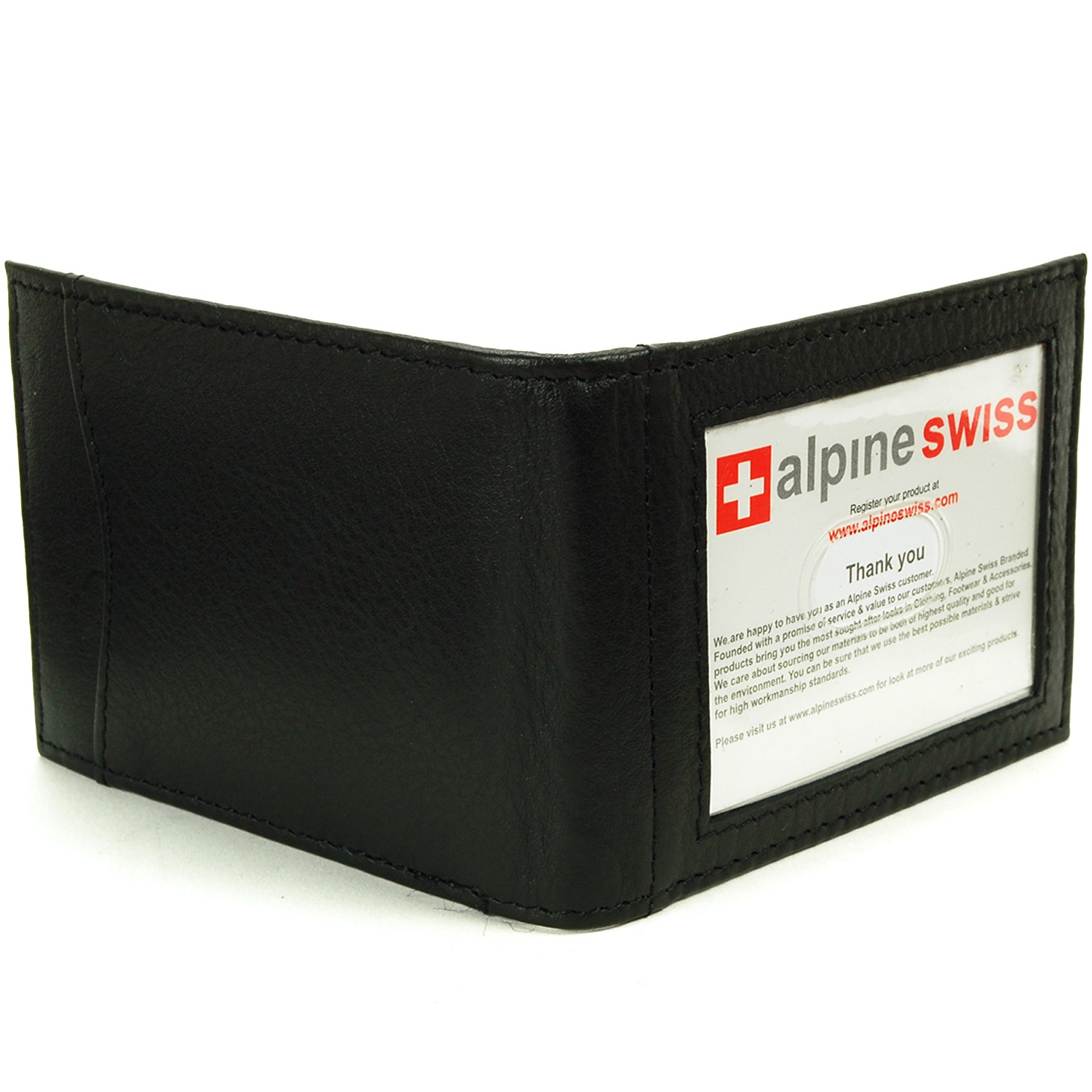 Alpine-Swiss-Mens-Bifold-Money-Clip-Spring-Loaded-Leather-ID-Front-Pocket-Wallet thumbnail 15