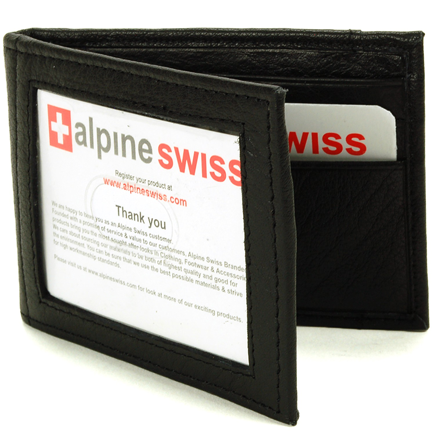 Alpine-Swiss-Mens-Bifold-Money-Clip-Spring-Loaded-Leather-ID-Front-Pocket-Wallet thumbnail 20