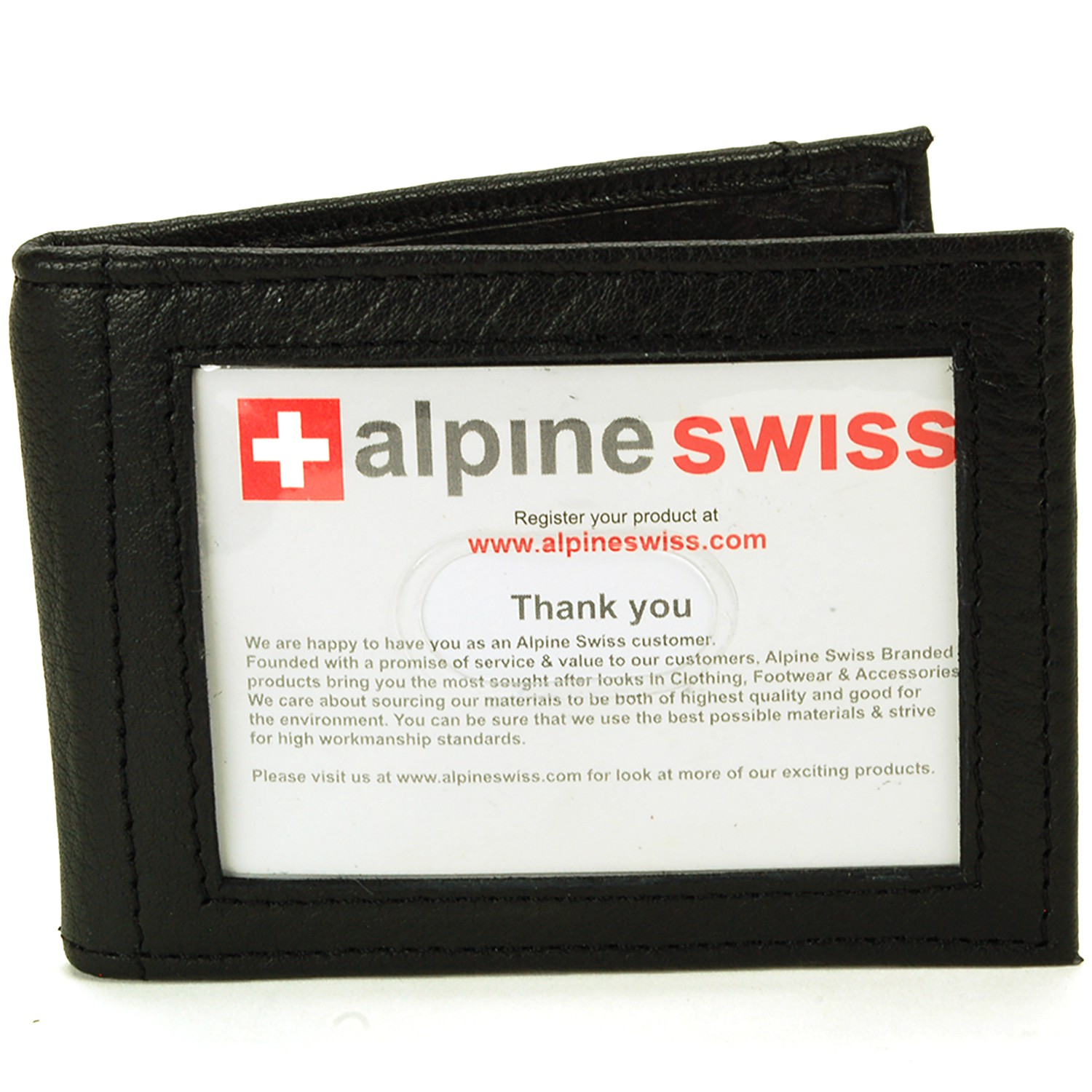 Alpine-Swiss-Mens-Bifold-Money-Clip-Spring-Loaded-Leather-ID-Front-Pocket-Wallet thumbnail 16