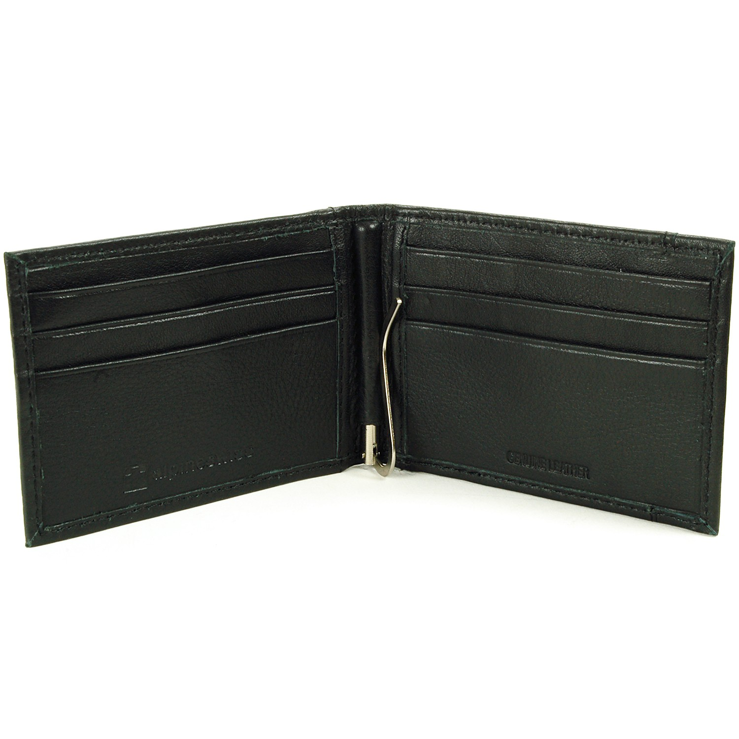 Alpine-Swiss-Mens-Bifold-Money-Clip-Spring-Loaded-Leather-ID-Front-Pocket-Wallet thumbnail 14