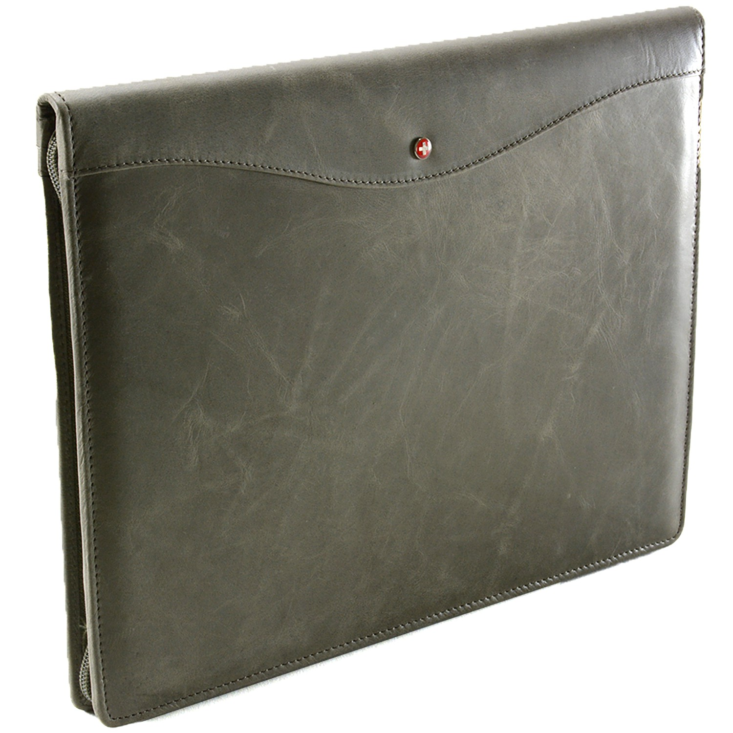Alpine Swiss Leather Zippered Writing Pad Portfolio Business