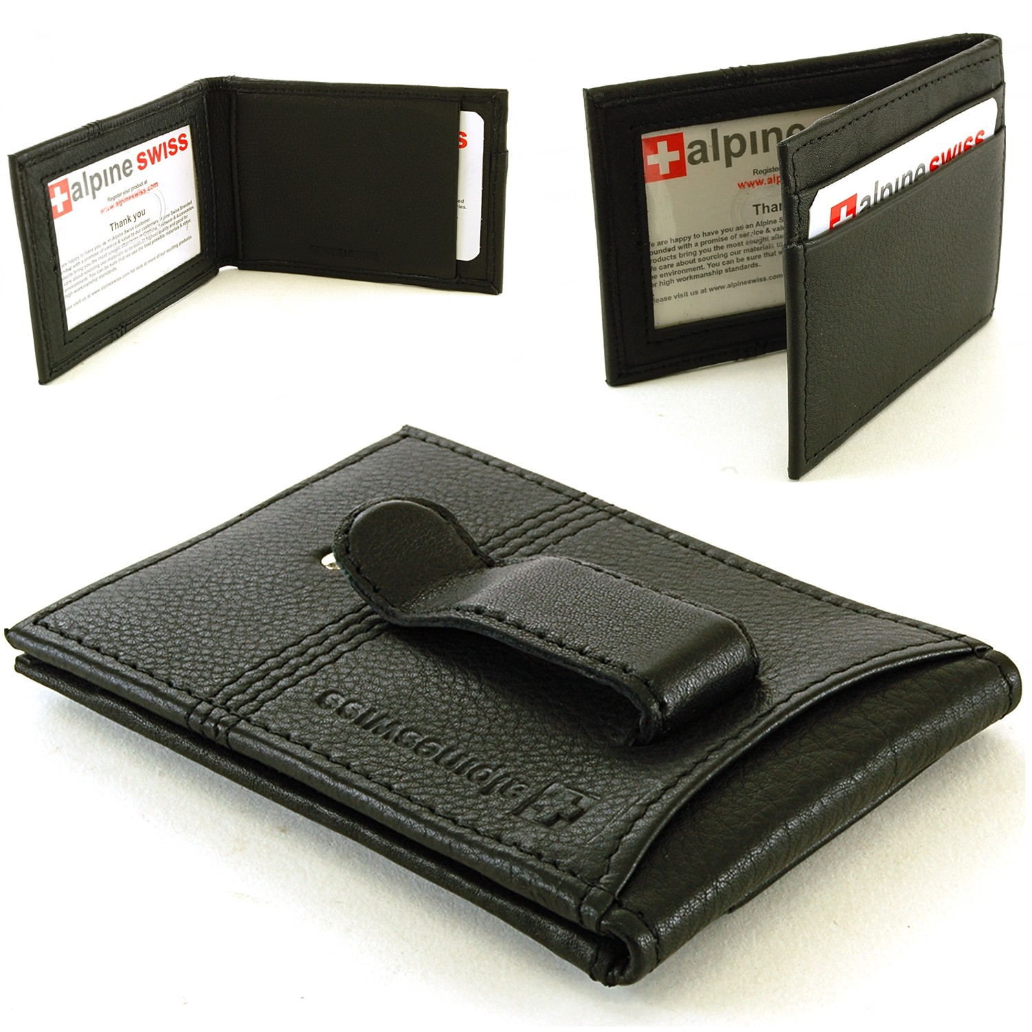 Leather Twofold Money Clip Card Case Wallet By Alpine