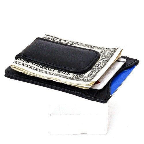 e2f66bdf6c77 Mens Leather Money Clip Slim Front Pocket Wallet Magnetic ID Credit ...