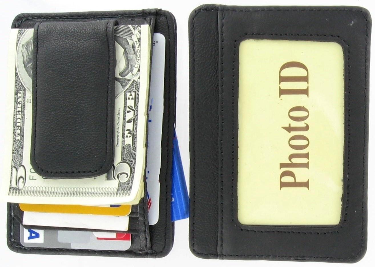 New Men/'s Genuine Leather Black Thin Slim ID Credit Card Money Holder Wallet.