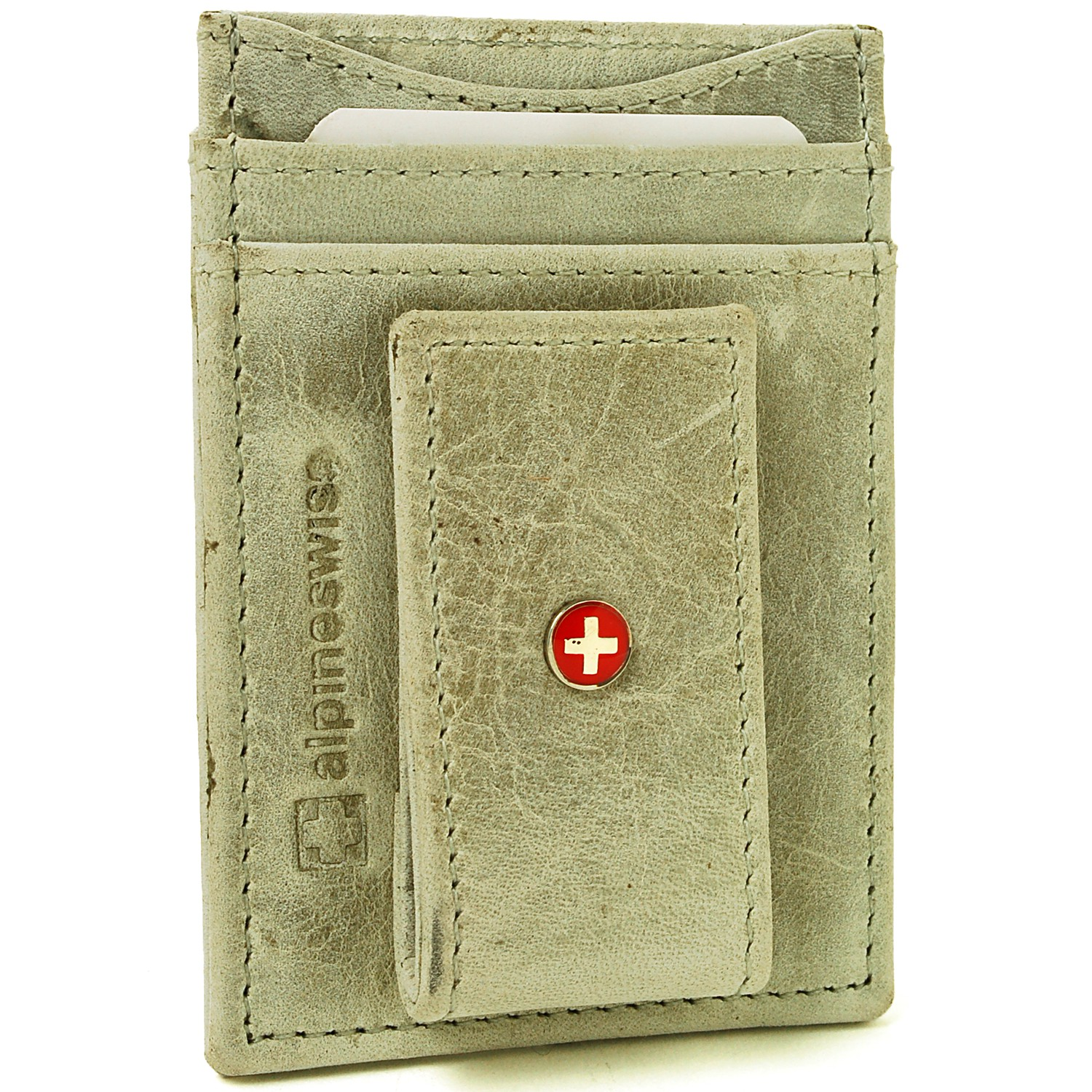 AlpineSwiss-Mens-Leather-Money-Clip-Magnet-Front-Pocket-Wallet-Slim-ID-Card-Case thumbnail 91