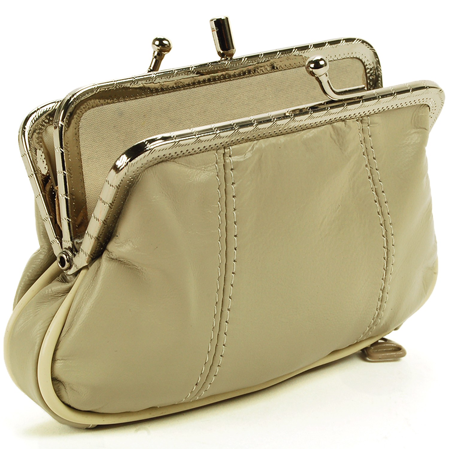 Credit Coin: Leather Womens Wallet Metal Frame Coin Purse ID Credit