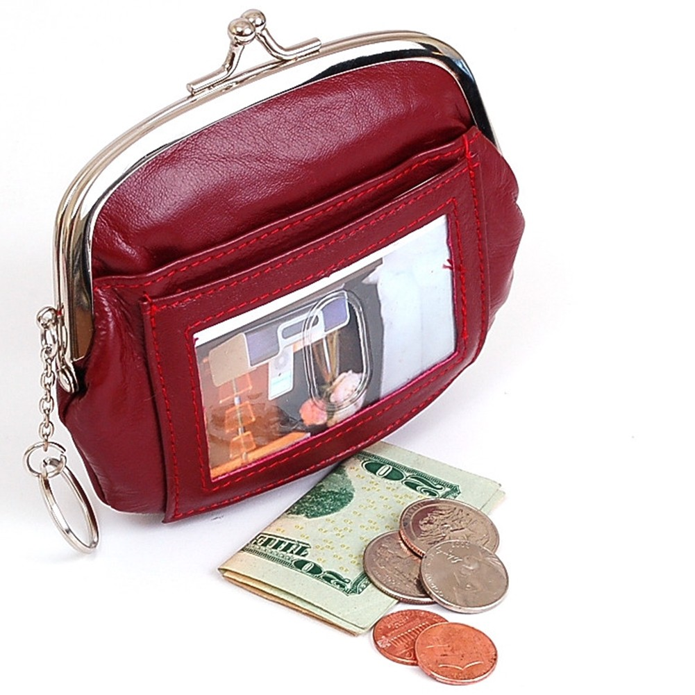 Womens Leather Coin Purse Mini Wallet Metal Frame Id