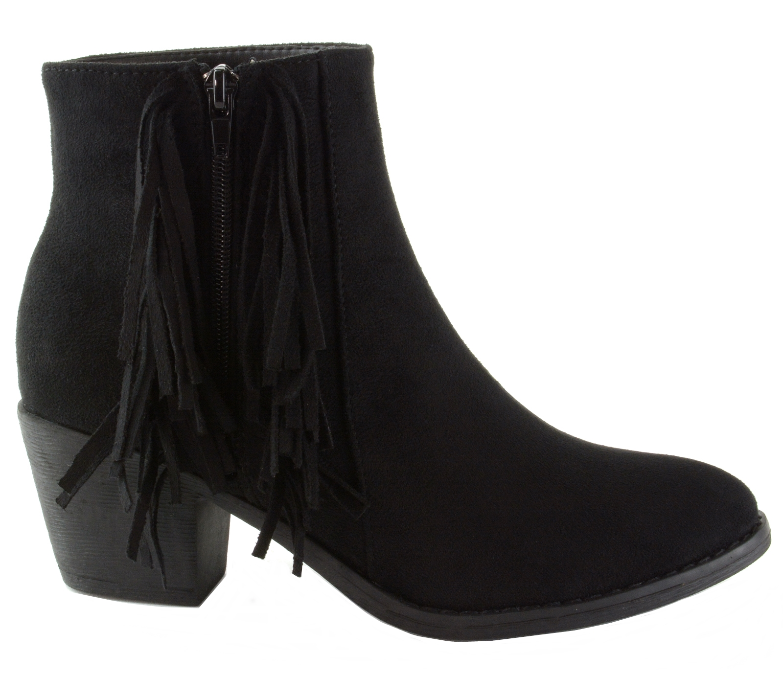 Alpine-Swiss-Arosa-Womens-Ankle-Boots-Fringe-Shoes-Block-High-Heel-Micro-Suede thumbnail 14