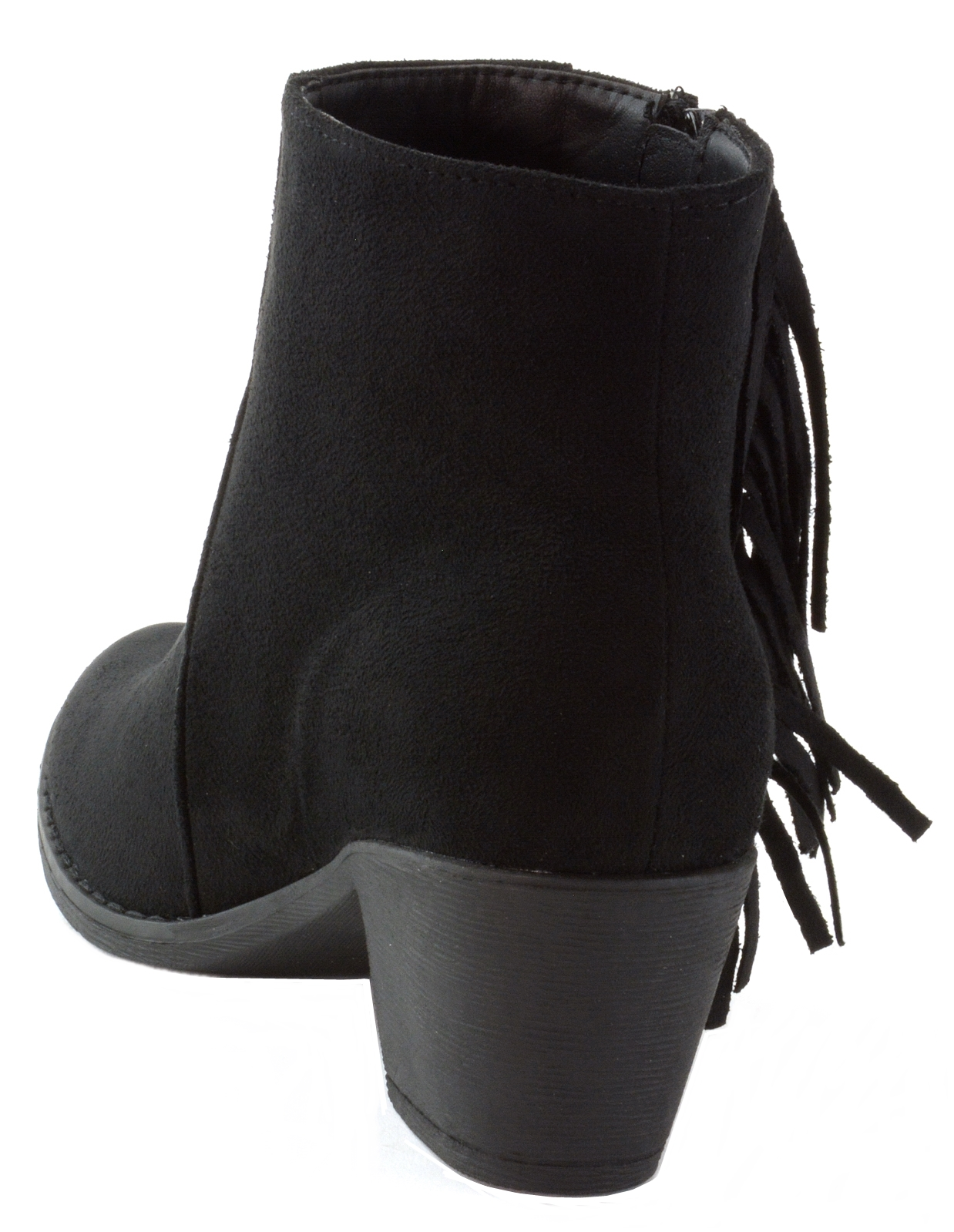 Alpine-Swiss-Arosa-Womens-Ankle-Boots-Fringe-Shoes-Block-High-Heel-Micro-Suede thumbnail 15