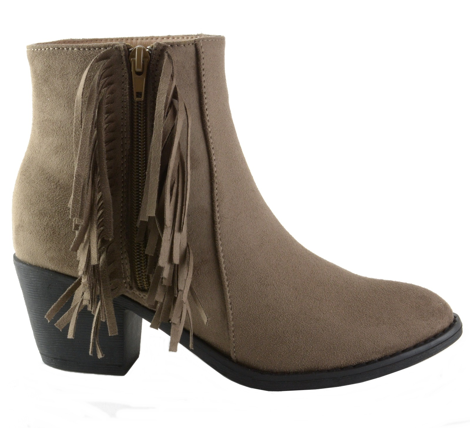 Alpine-Swiss-Arosa-Womens-Ankle-Boots-Fringe-Shoes-Block-High-Heel-Micro-Suede thumbnail 20