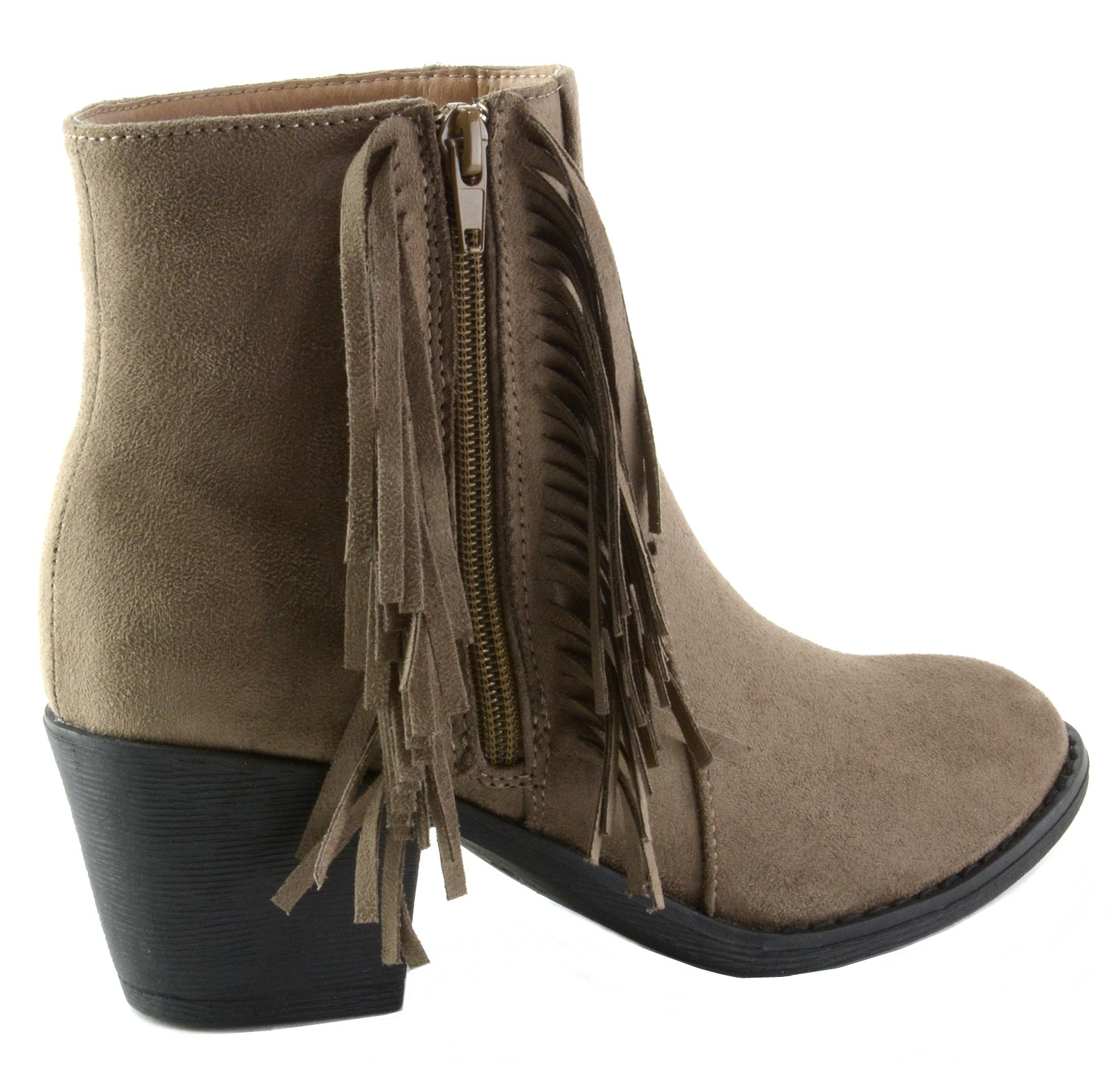 Alpine-Swiss-Arosa-Womens-Ankle-Boots-Fringe-Shoes-Block-High-Heel-Micro-Suede thumbnail 22