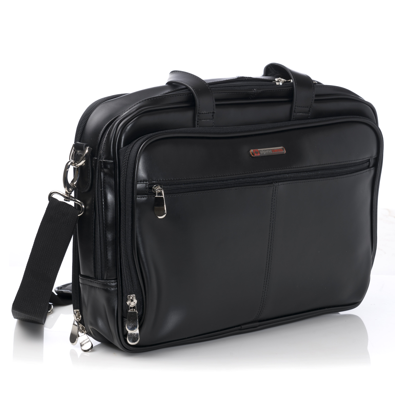 alpineswiss leather briefcase laptop case messenger bag shoulder strap portfolio ebay. Black Bedroom Furniture Sets. Home Design Ideas