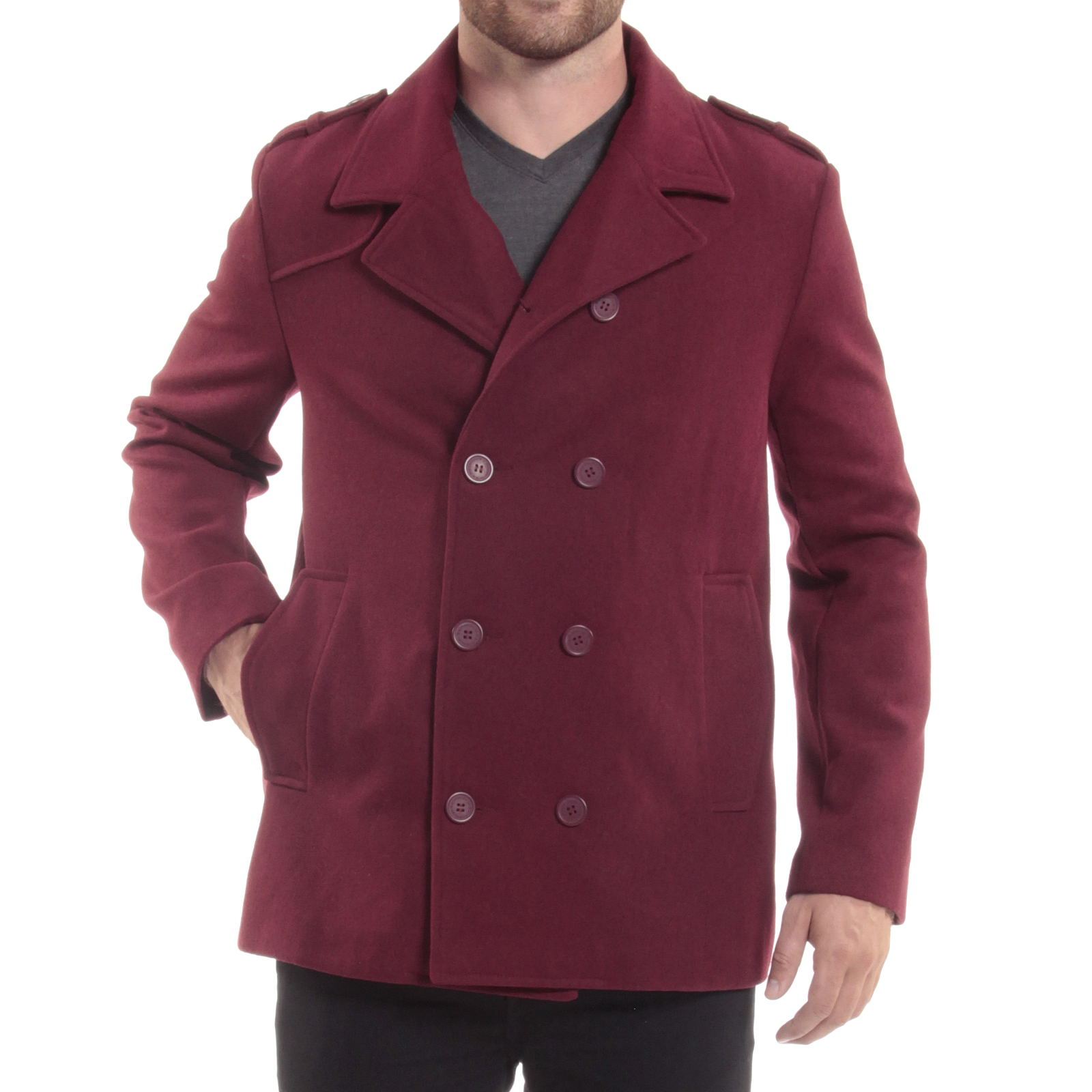 Fresh Alpine Swiss Jake Mens Pea Coat Wool Blend Double Breasted Dress  DU75