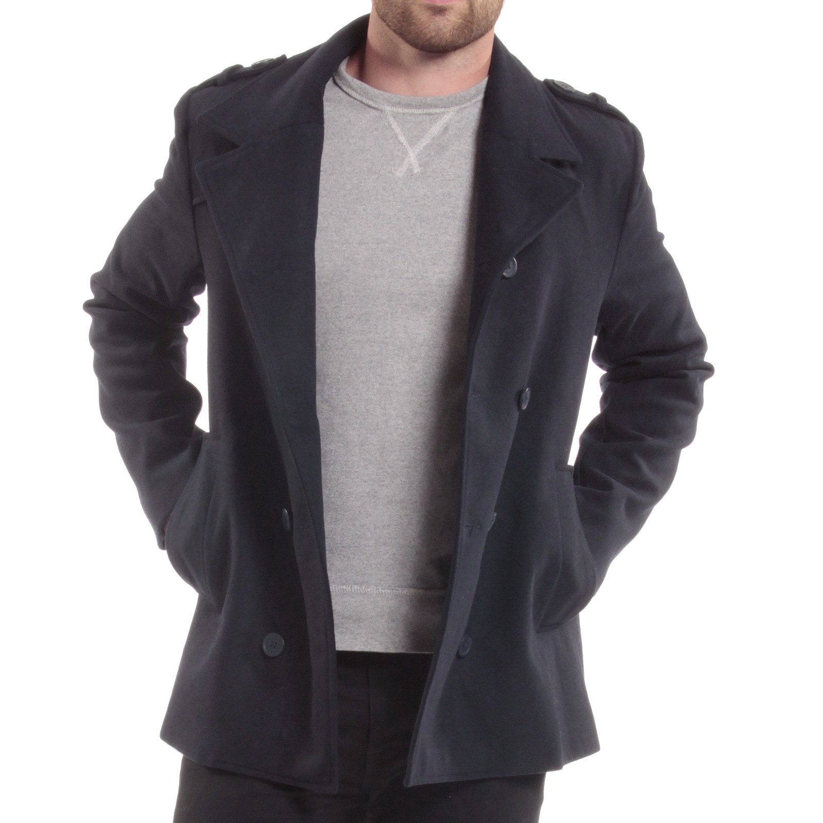 Alpine Swiss Jake Mens Pea Coat Wool Blend Double Breasted Dress ...
