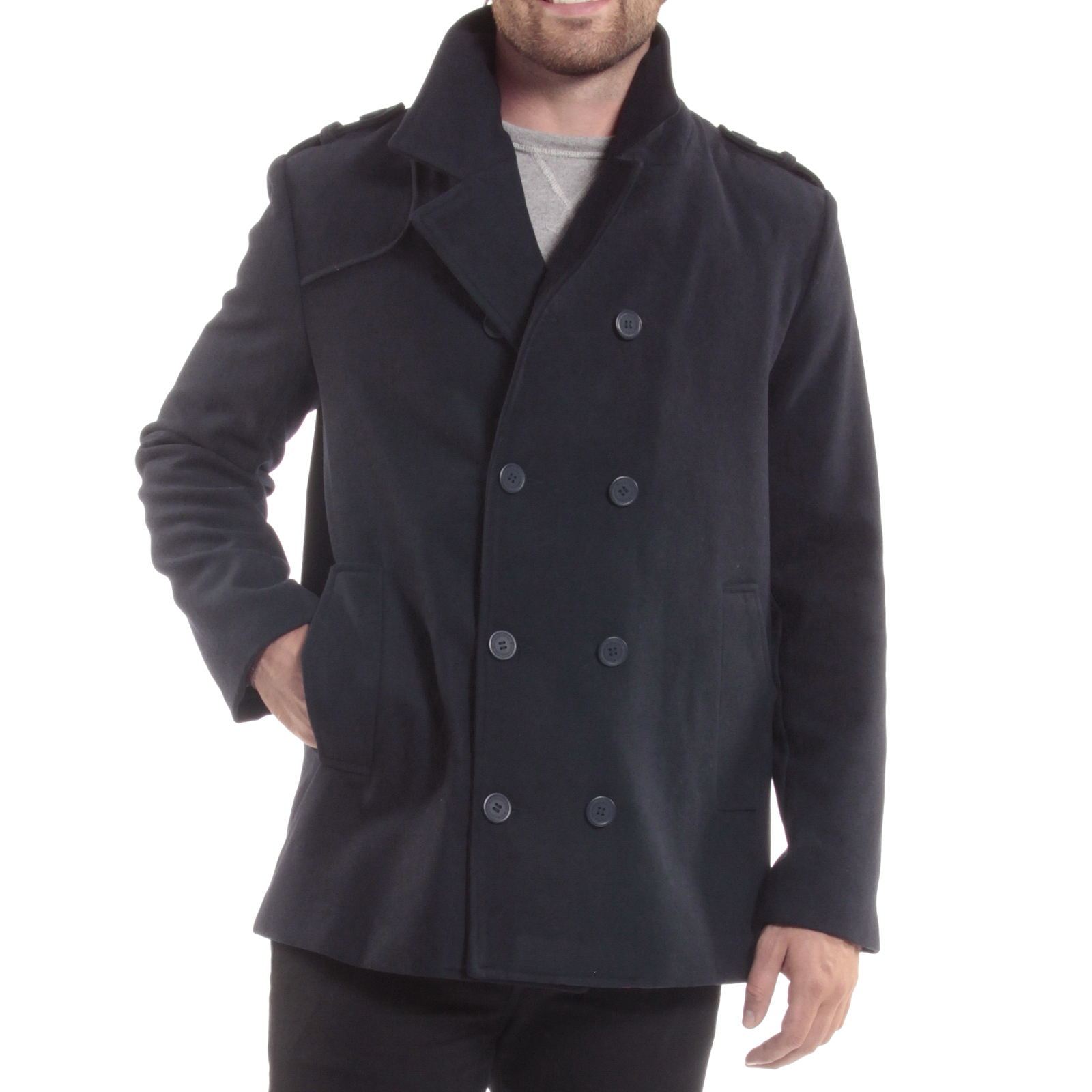 f78e5ee1c49 Alpine Swiss Jake Mens Pea Coat Wool Blend Double Breasted Dress ...