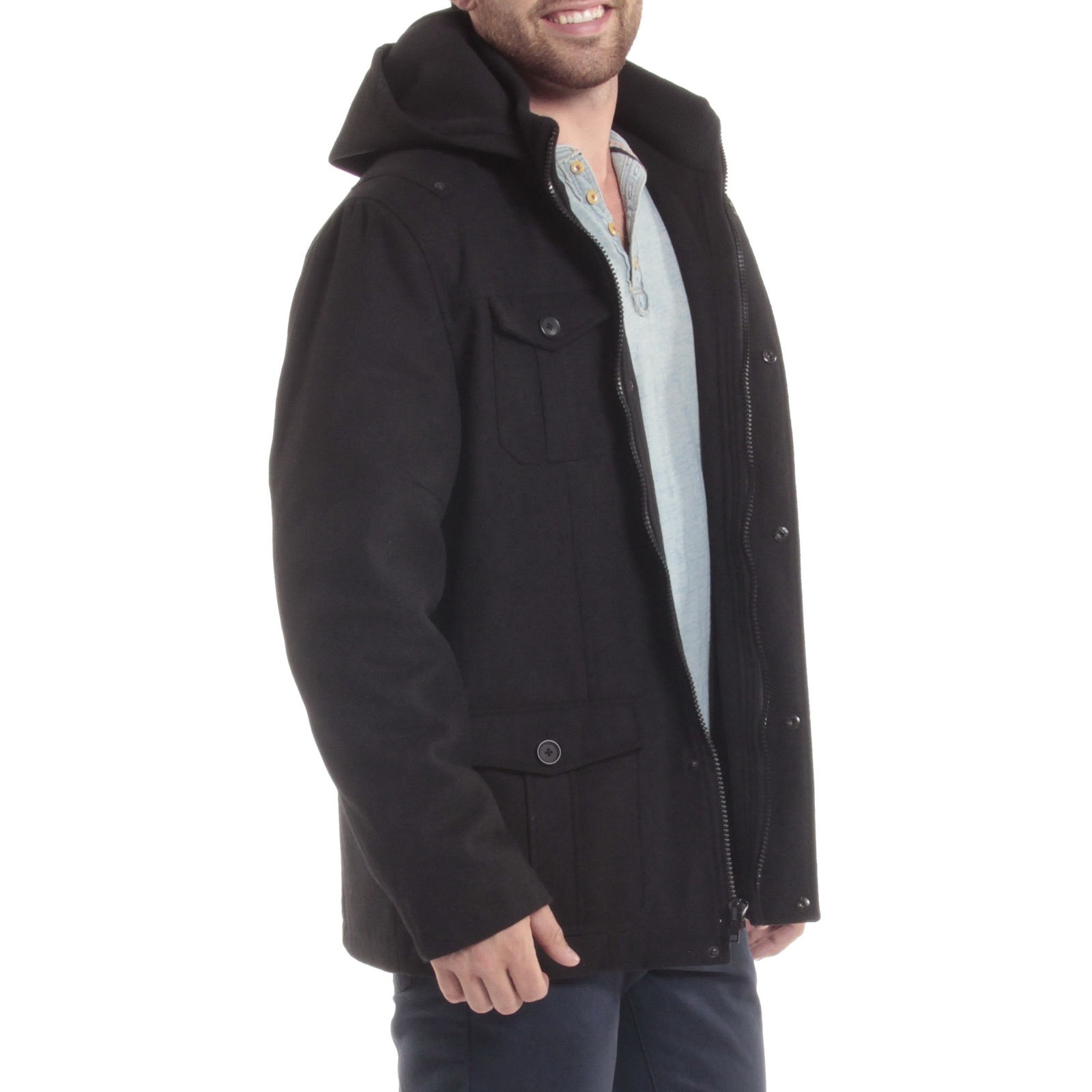 Alpine-Swiss-Noah-Mens-Wool-Coat-Parka-with-Removable-Hood-Jacket-Cargo-Pockets thumbnail 22