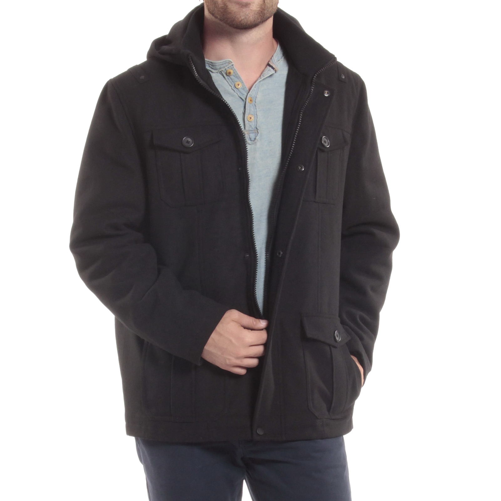 Alpine-Swiss-Noah-Mens-Wool-Coat-Parka-with-Removable-Hood-Jacket-Cargo-Pockets thumbnail 19