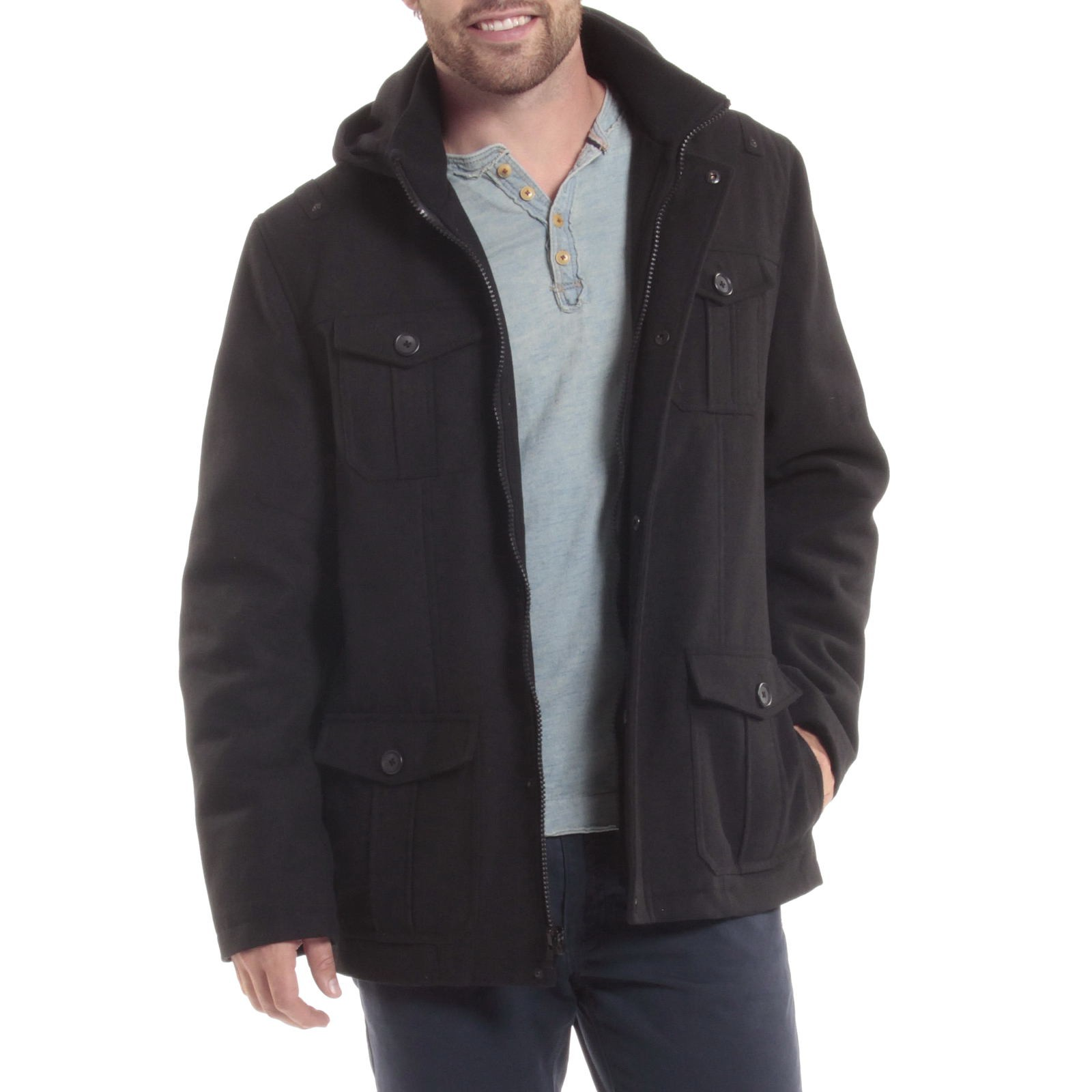 Alpine-Swiss-Noah-Mens-Wool-Coat-Parka-with-Removable-Hood-Jacket-Cargo-Pockets thumbnail 23