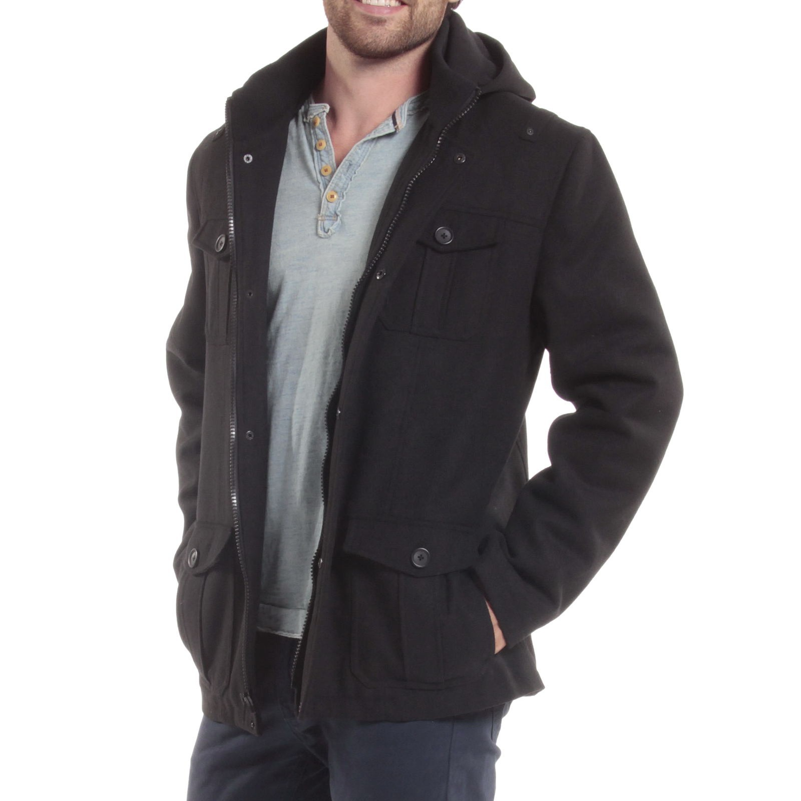 Alpine-Swiss-Noah-Mens-Wool-Coat-Parka-with-Removable-Hood-Jacket-Cargo-Pockets thumbnail 14