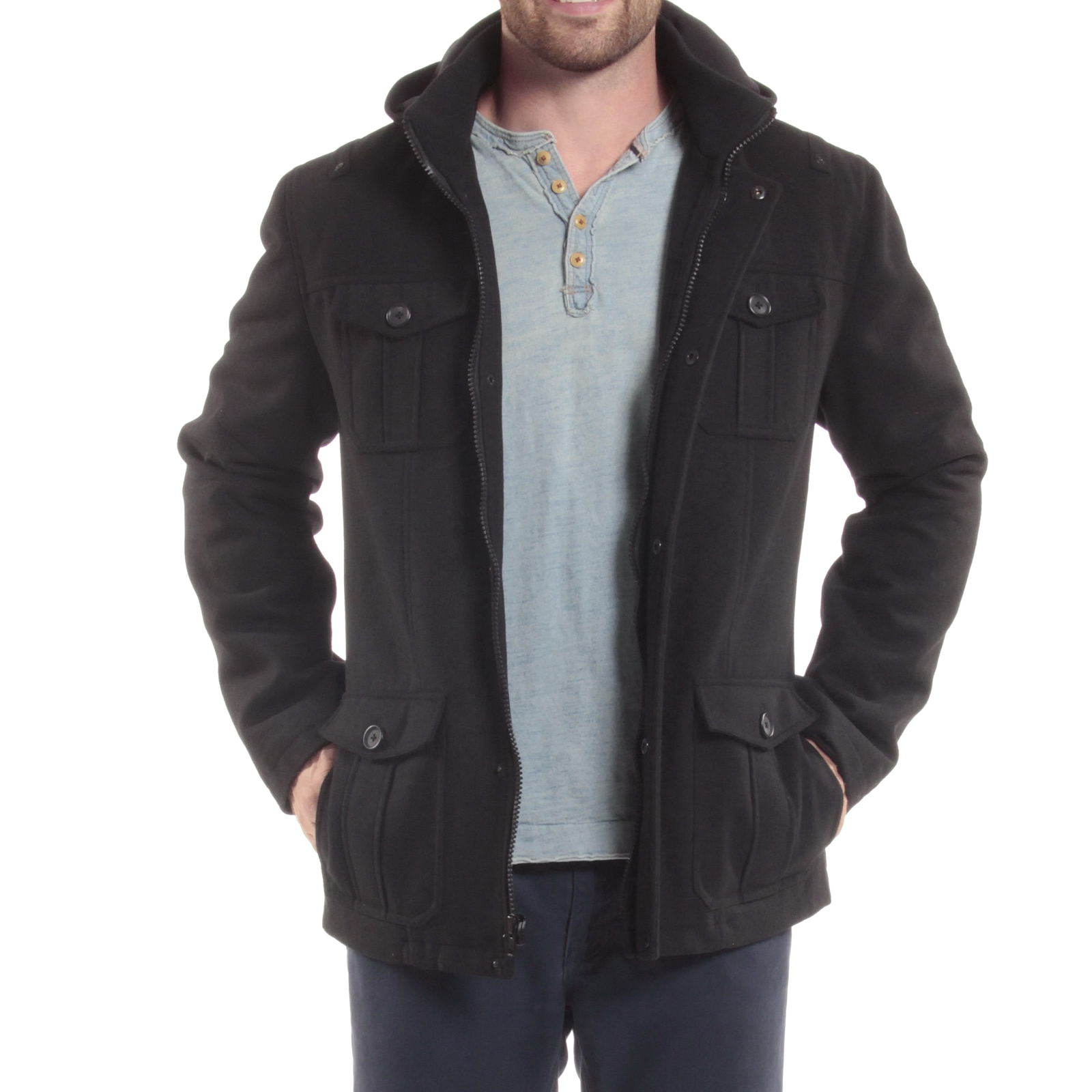 Alpine-Swiss-Noah-Mens-Wool-Coat-Parka-with-Removable-Hood-Jacket-Cargo-Pockets thumbnail 16