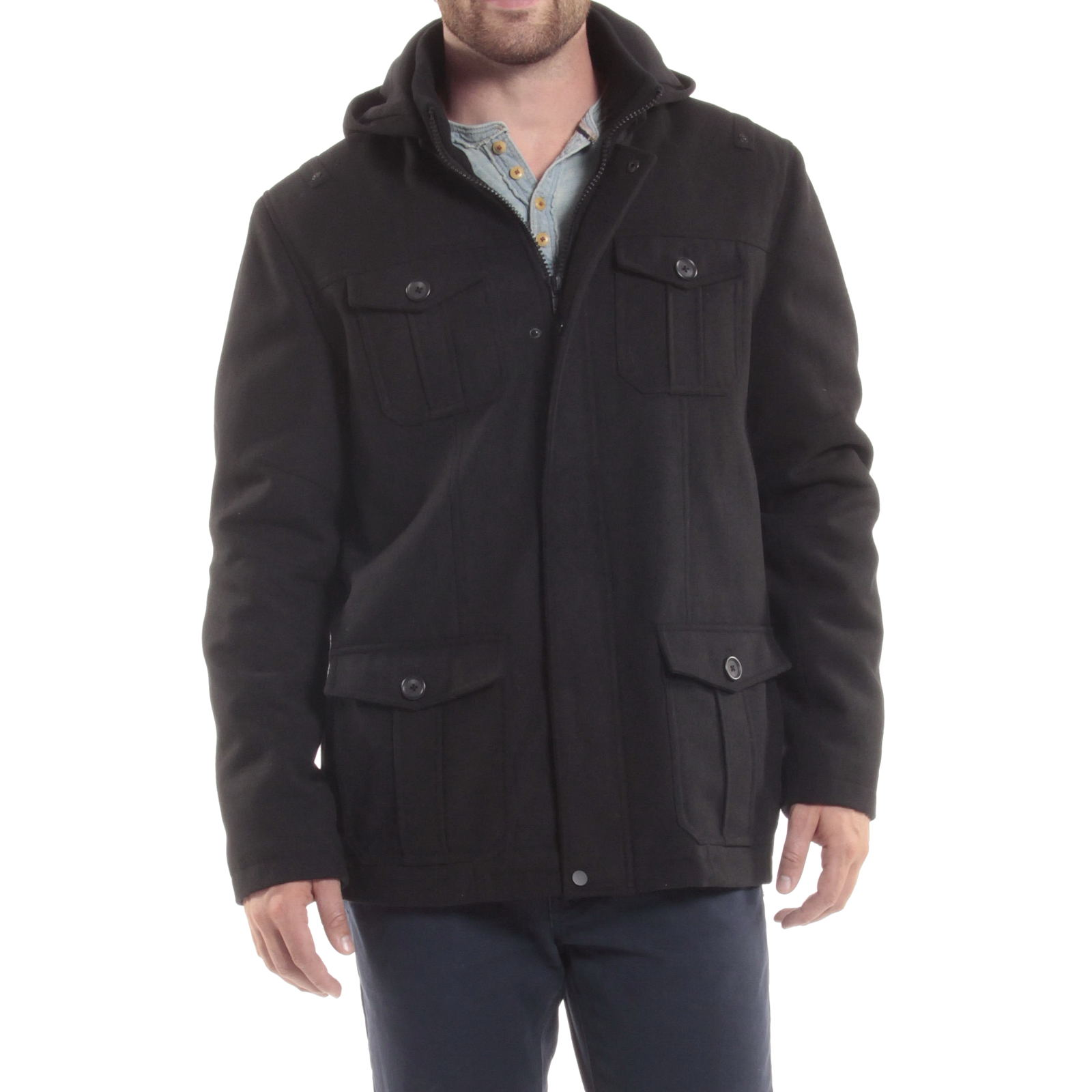 Alpine-Swiss-Noah-Mens-Wool-Coat-Parka-with-Removable-Hood-Jacket-Cargo-Pockets thumbnail 21