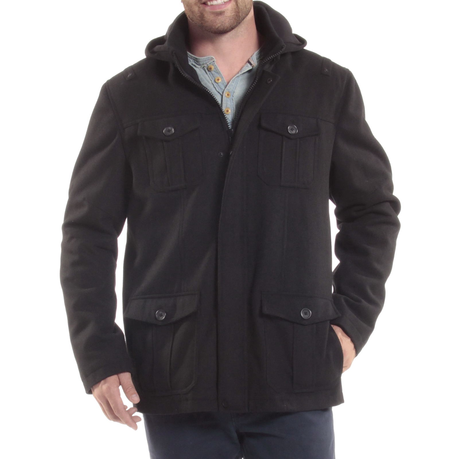 Alpine-Swiss-Noah-Mens-Wool-Coat-Parka-with-Removable-Hood-Jacket-Cargo-Pockets thumbnail 24