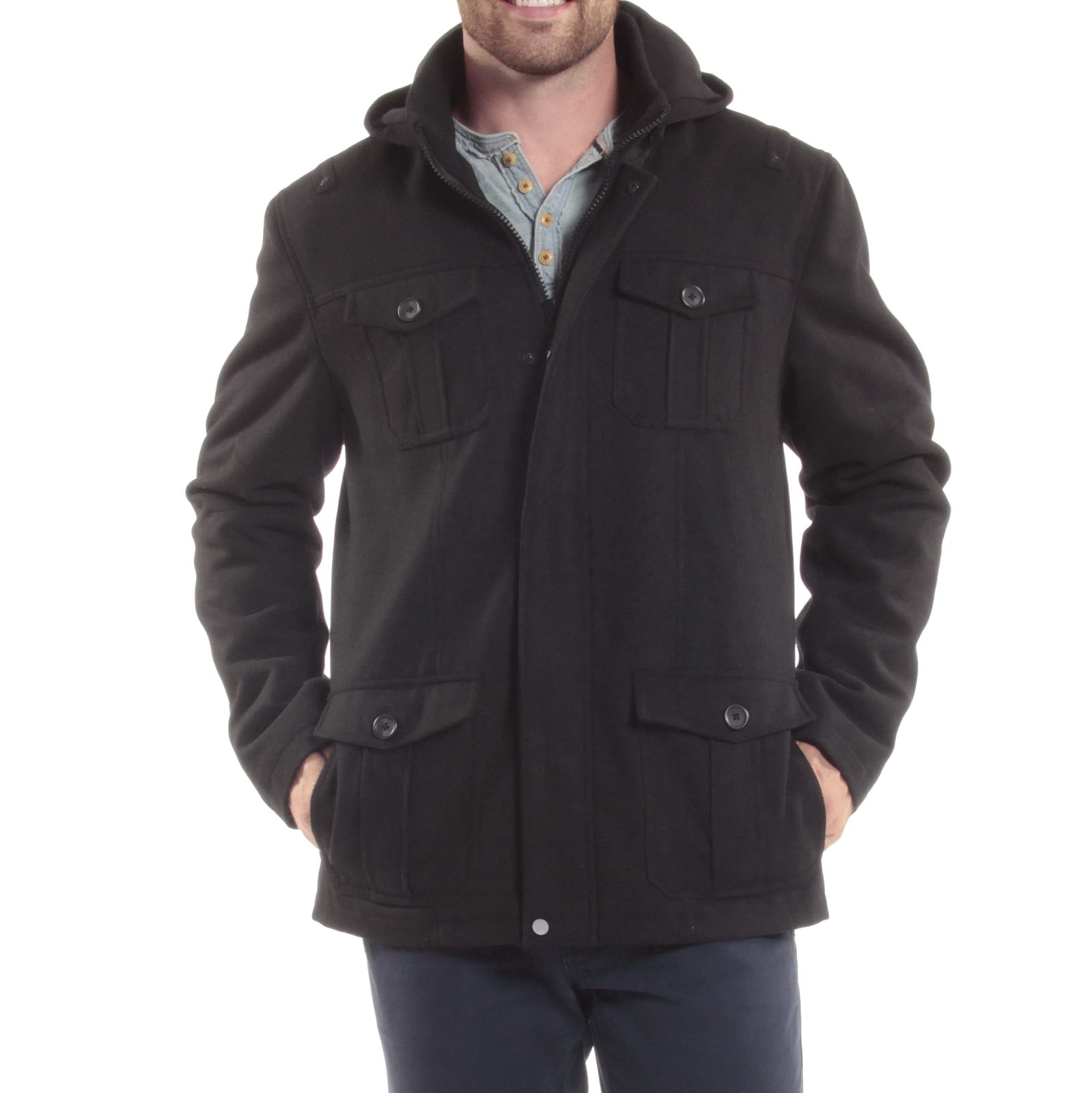 Alpine-Swiss-Noah-Mens-Wool-Coat-Parka-with-Removable-Hood-Jacket-Cargo-Pockets thumbnail 20