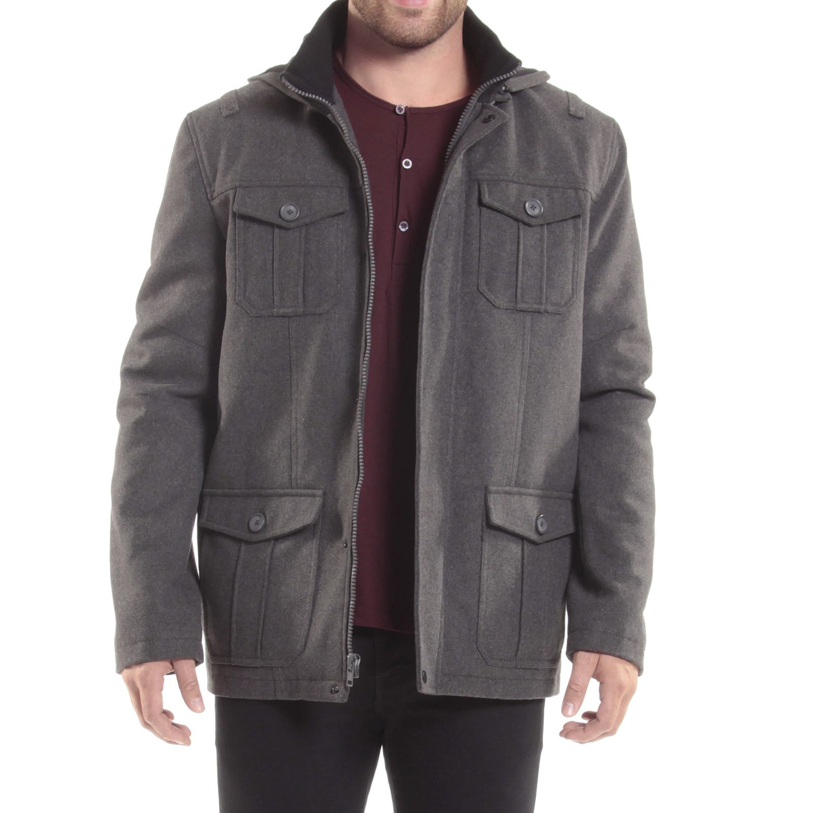 Alpine-Swiss-Noah-Mens-Wool-Coat-Parka-with-Removable-Hood-Jacket-Cargo-Pockets thumbnail 34