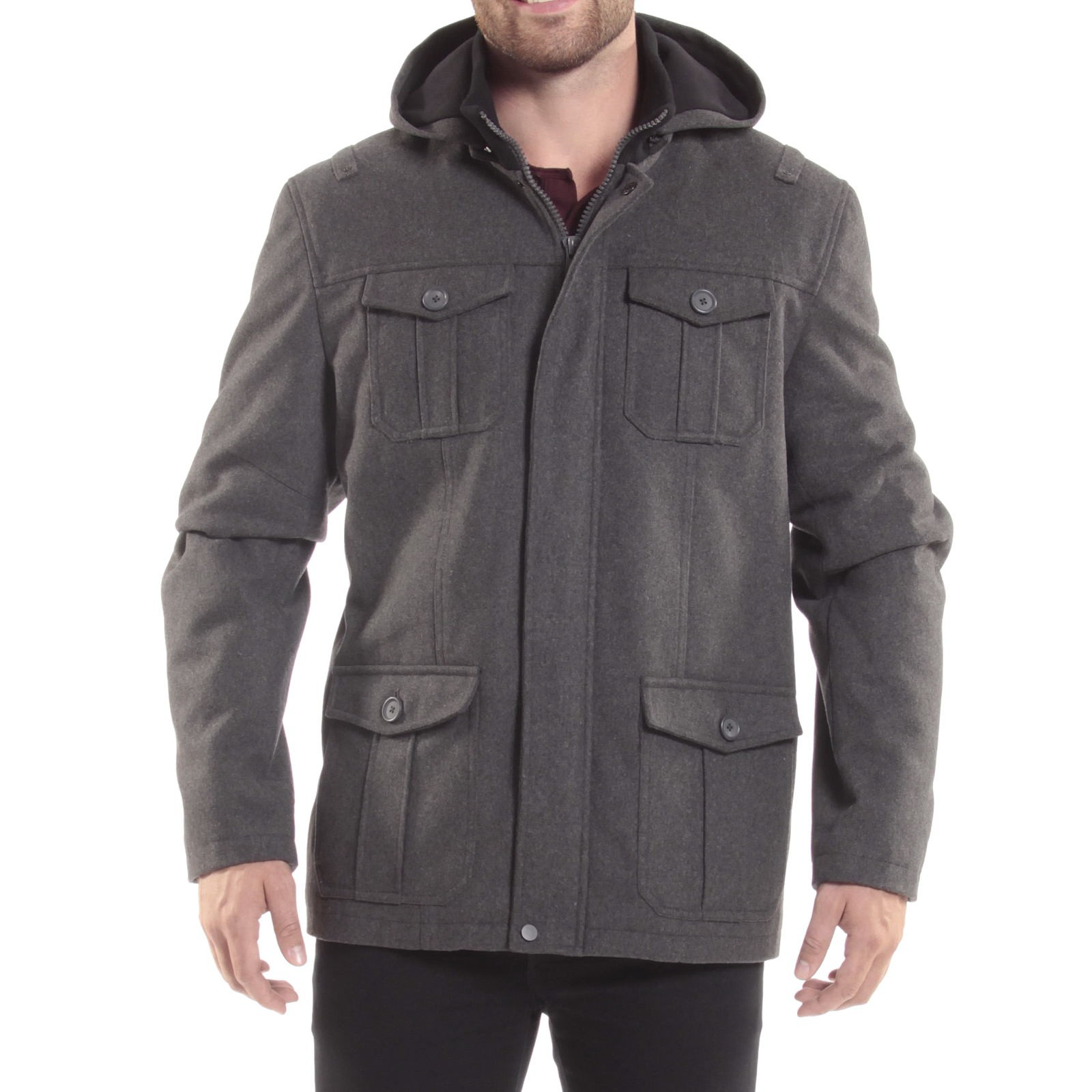 Alpine-Swiss-Noah-Mens-Wool-Coat-Parka-with-Removable-Hood-Jacket-Cargo-Pockets thumbnail 35
