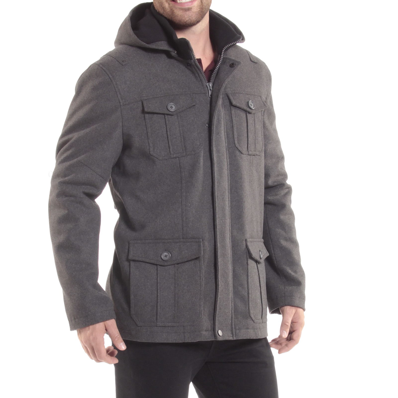 Alpine-Swiss-Noah-Mens-Wool-Coat-Parka-with-Removable-Hood-Jacket-Cargo-Pockets thumbnail 28