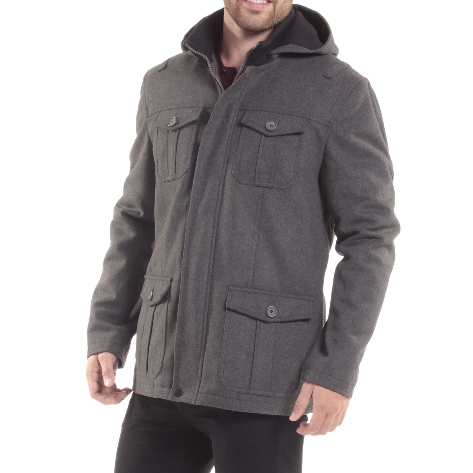 Alpine-Swiss-Noah-Mens-Wool-Coat-Parka-with-Removable-Hood-Jacket-Cargo-Pockets thumbnail 32
