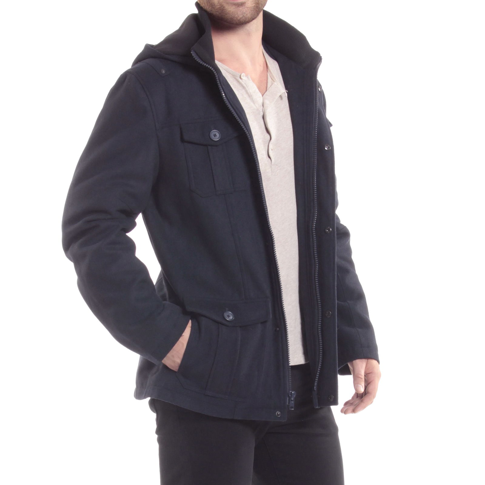 Alpine-Swiss-Noah-Mens-Wool-Coat-Parka-with-Removable-Hood-Jacket-Cargo-Pockets thumbnail 41