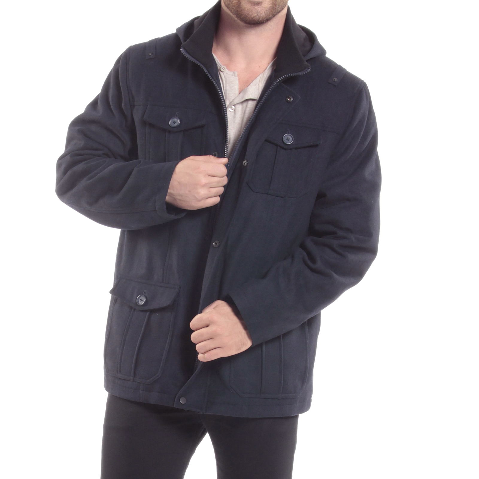 Alpine-Swiss-Noah-Mens-Wool-Coat-Parka-with-Removable-Hood-Jacket-Cargo-Pockets thumbnail 38