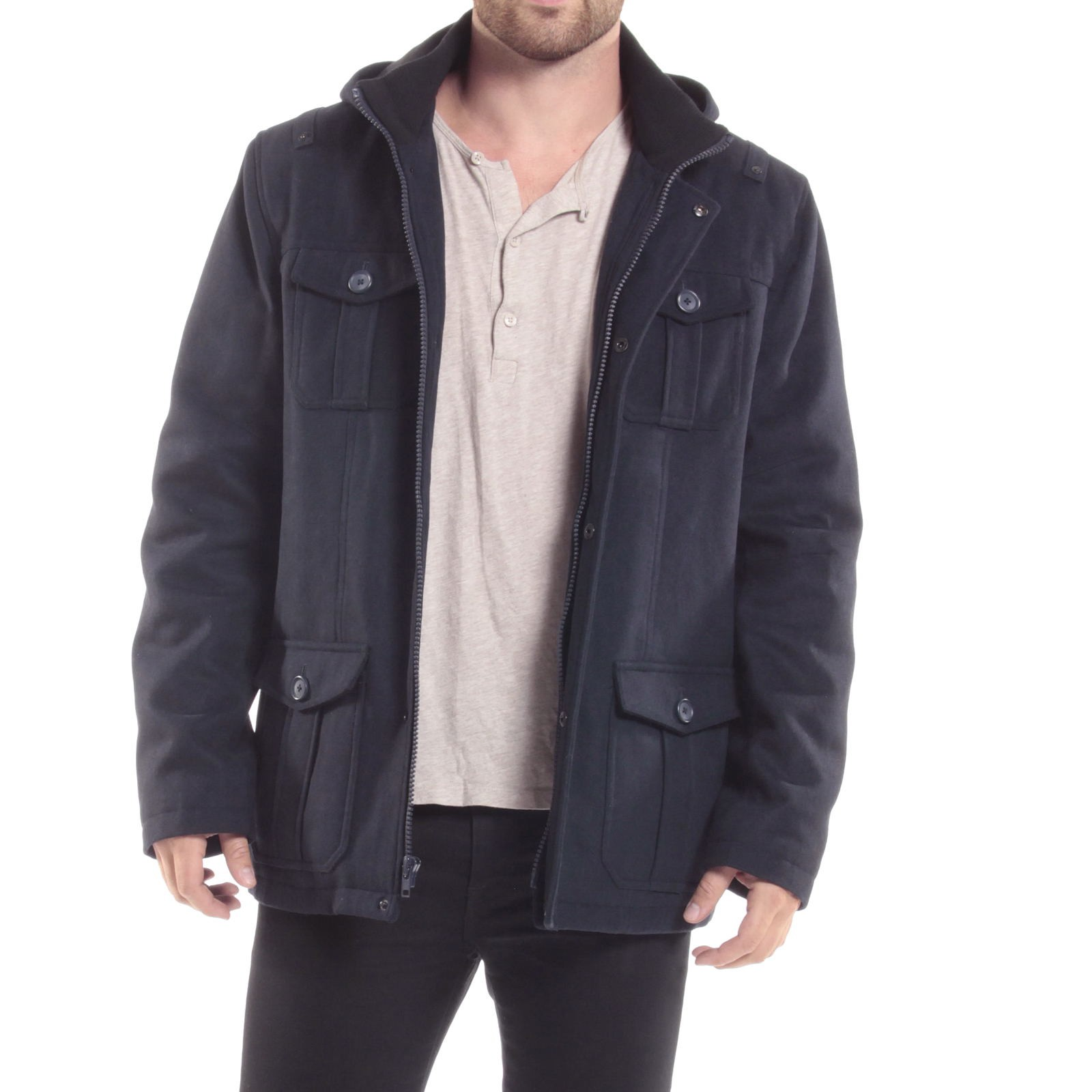 Alpine-Swiss-Noah-Mens-Wool-Coat-Parka-with-Removable-Hood-Jacket-Cargo-Pockets thumbnail 44