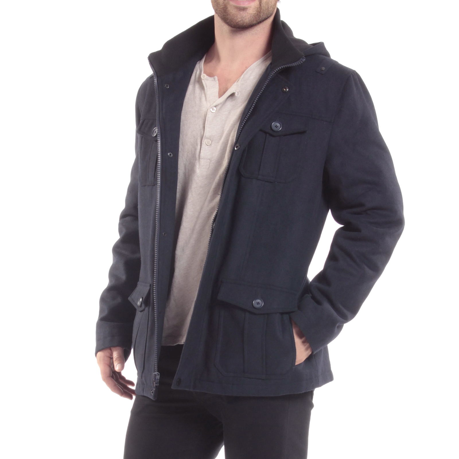 Alpine-Swiss-Noah-Mens-Wool-Coat-Parka-with-Removable-Hood-Jacket-Cargo-Pockets thumbnail 48