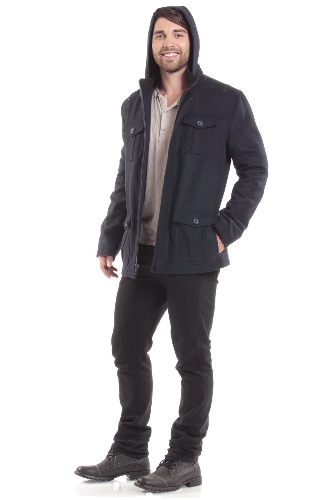Alpine-Swiss-Noah-Mens-Wool-Coat-Parka-with-Removable-Hood-Jacket-Cargo-Pockets thumbnail 43