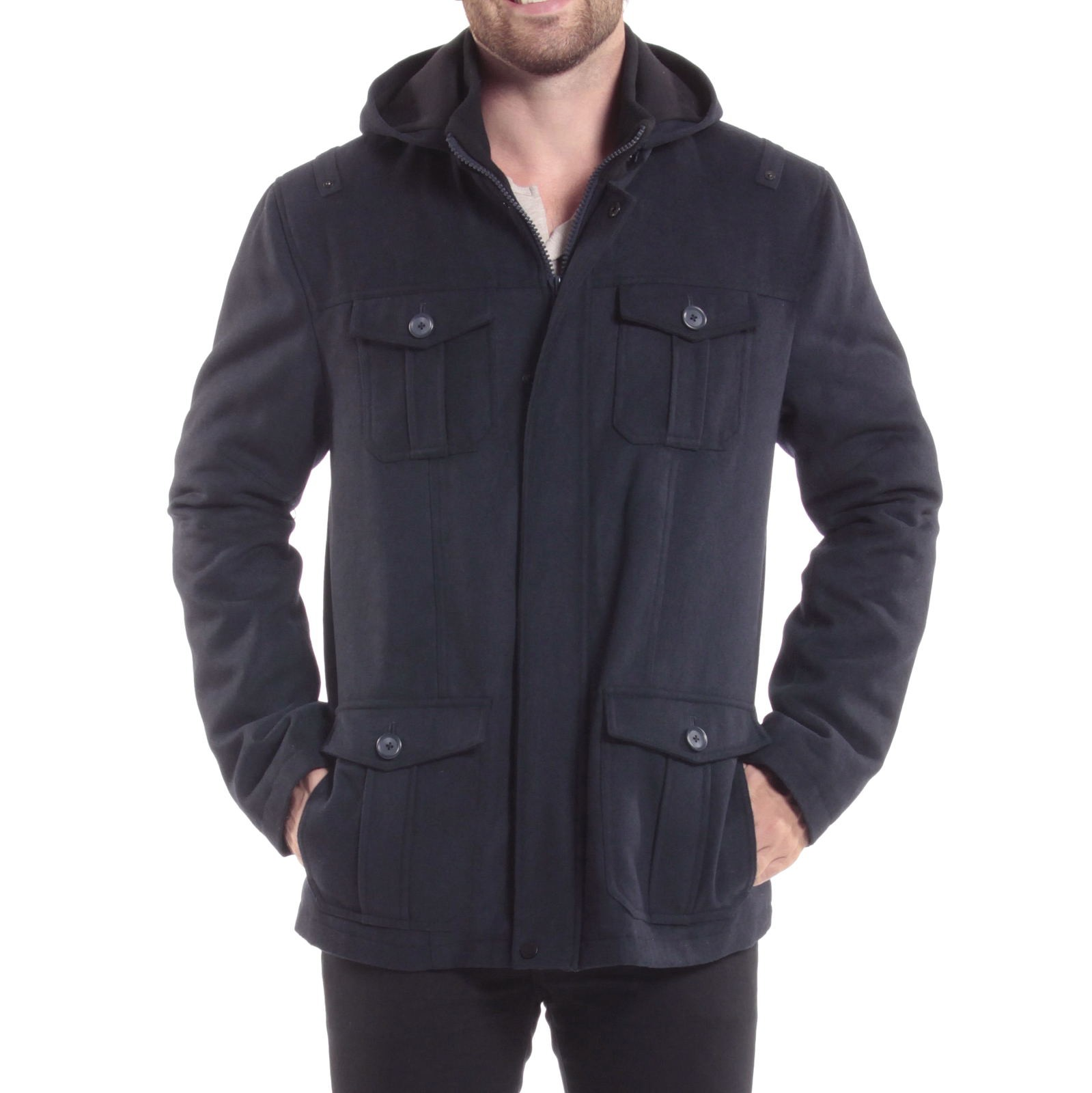 Alpine-Swiss-Noah-Mens-Wool-Coat-Parka-with-Removable-Hood-Jacket-Cargo-Pockets thumbnail 46