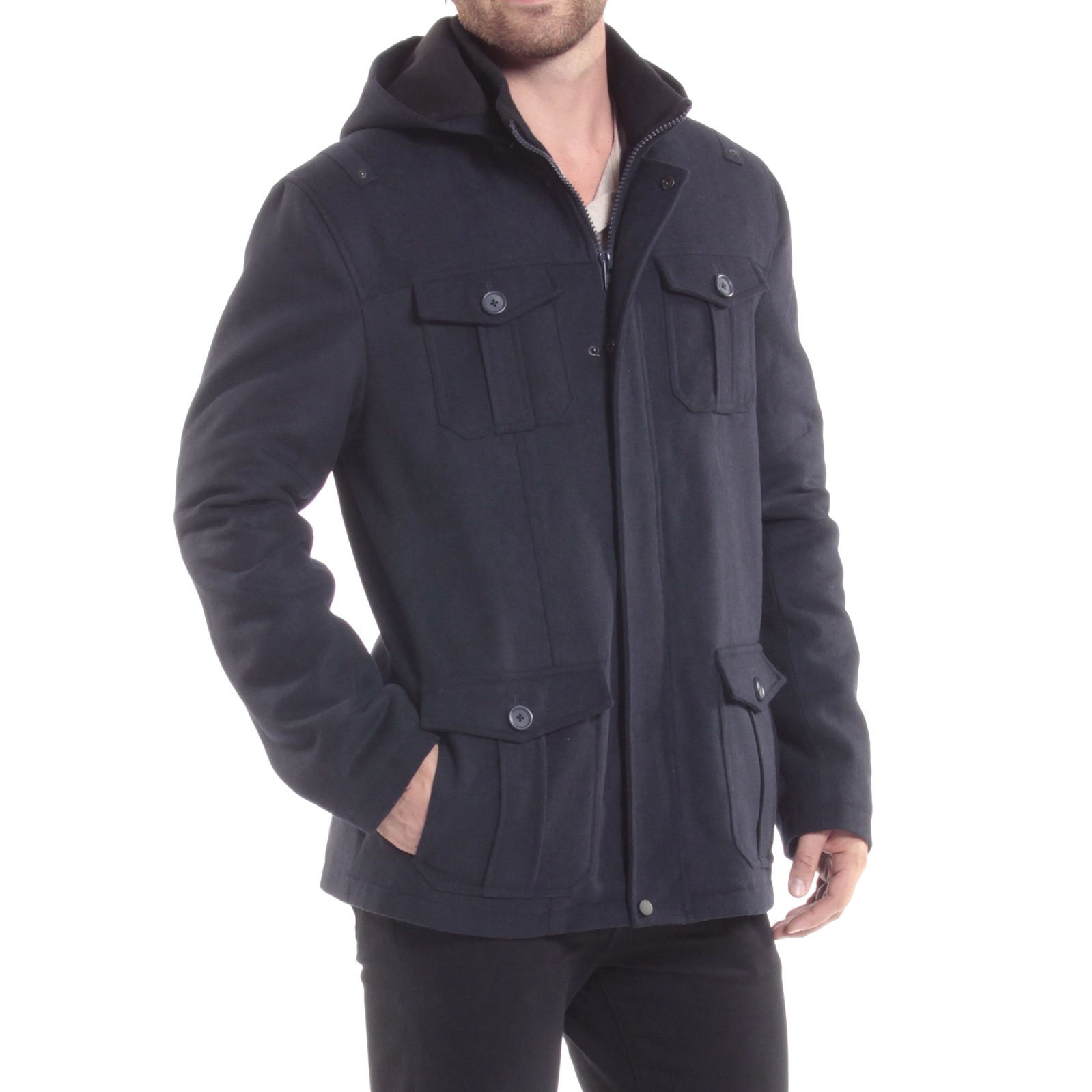 Alpine-Swiss-Noah-Mens-Wool-Coat-Parka-with-Removable-Hood-Jacket-Cargo-Pockets thumbnail 45