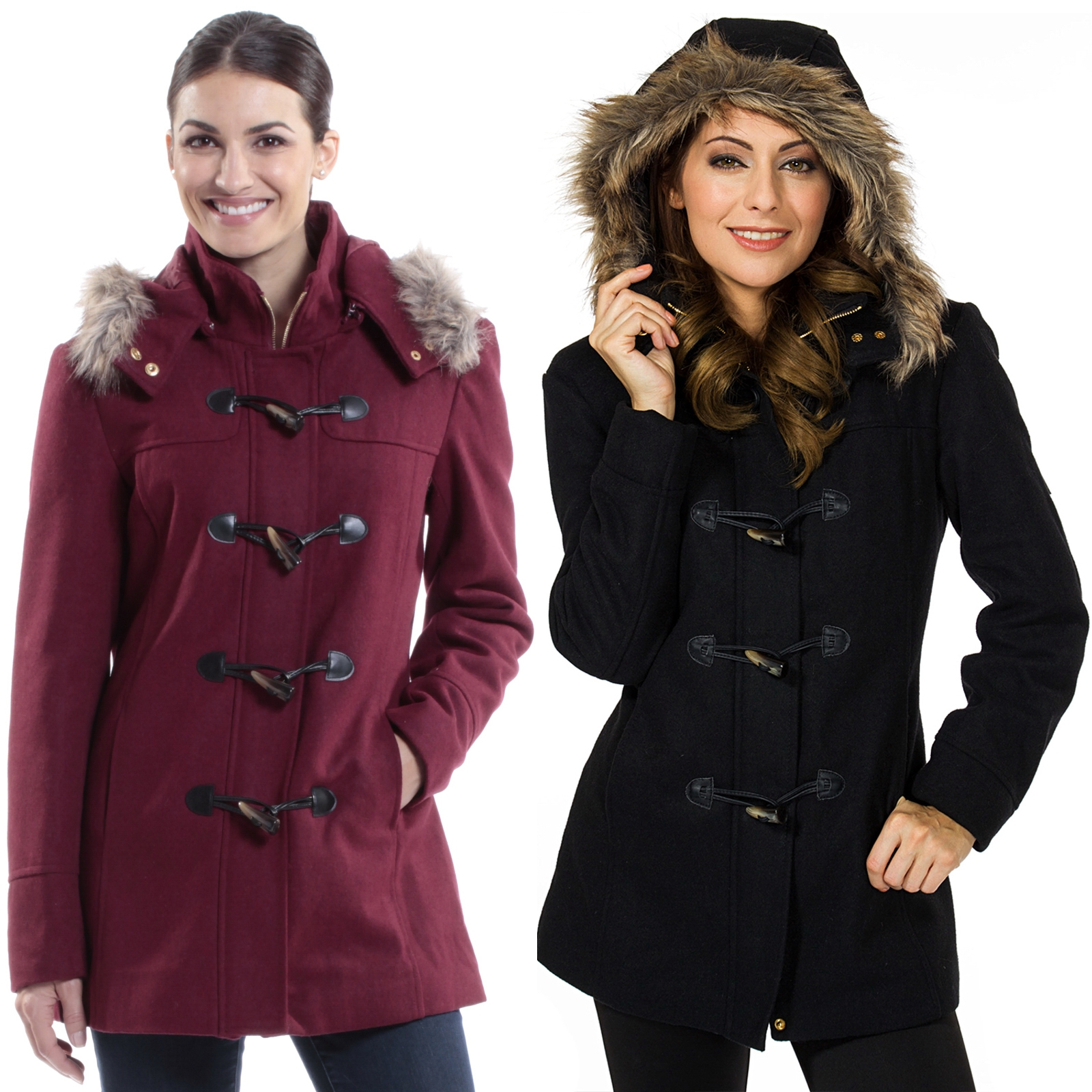 02bab5b47 Details about Alpine Swiss Duffy Womens Hooded Parka Fur Trim Wool Coat  Toggle Button Jacket