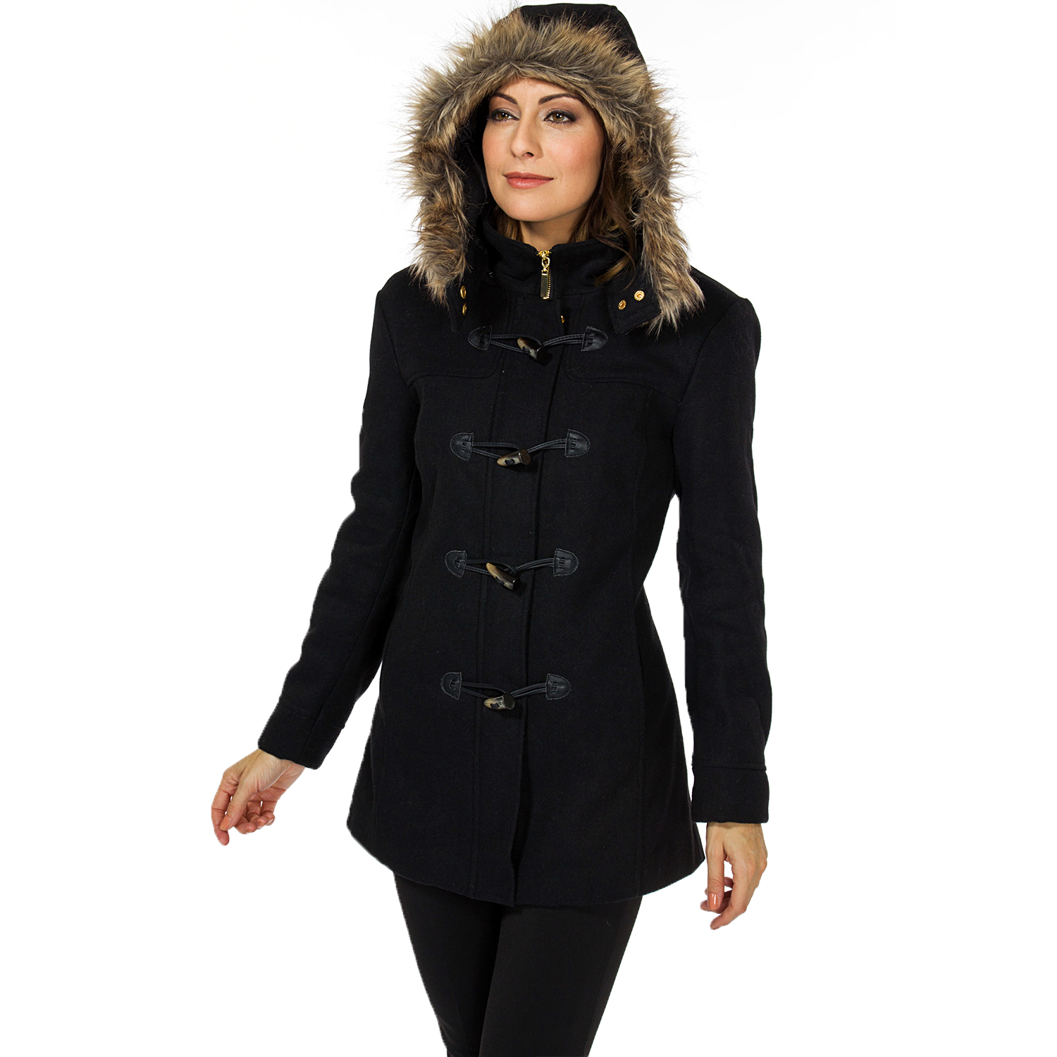 Fur hood coat women
