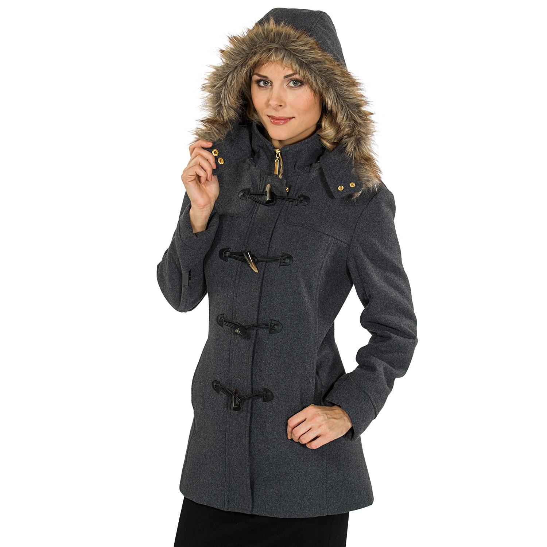 Hooded wool coats for women