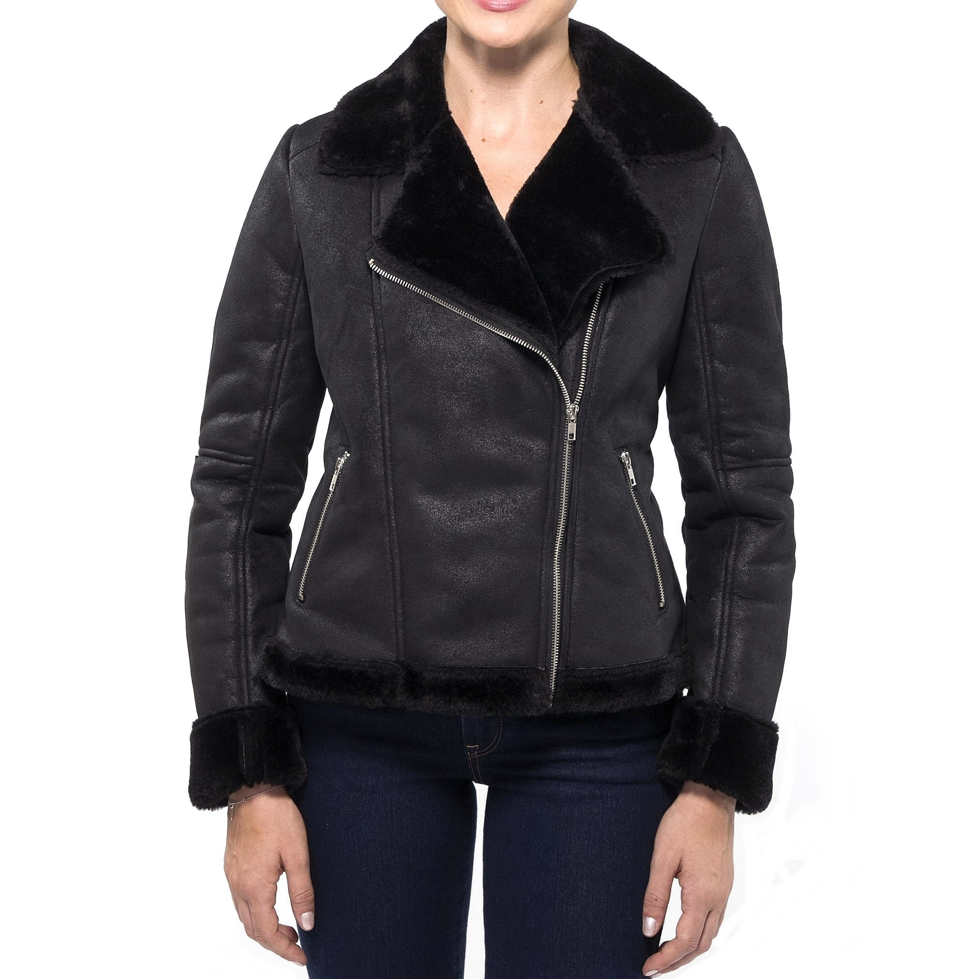 Faux shearling coat women