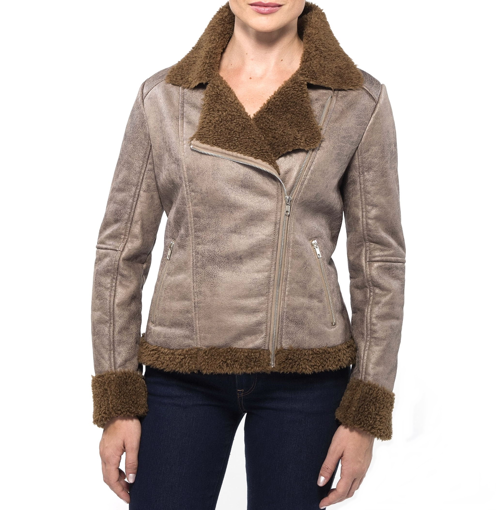 Alpine Swiss Womens Faux Shearling Jacket Fashion Biker Coat