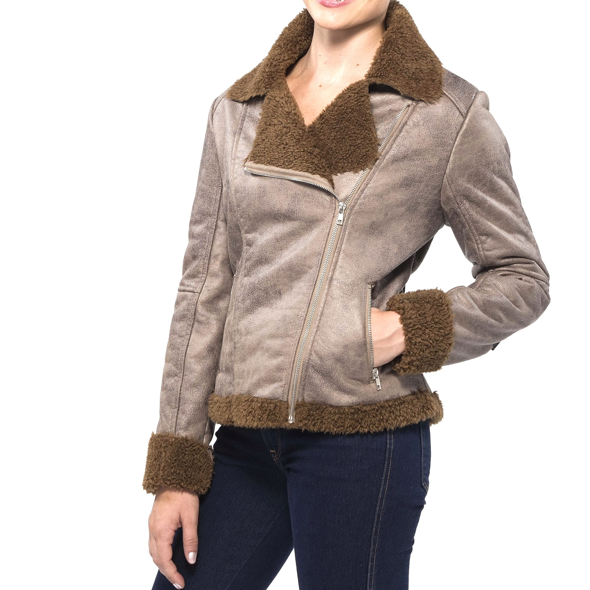 Faux shearling coats women