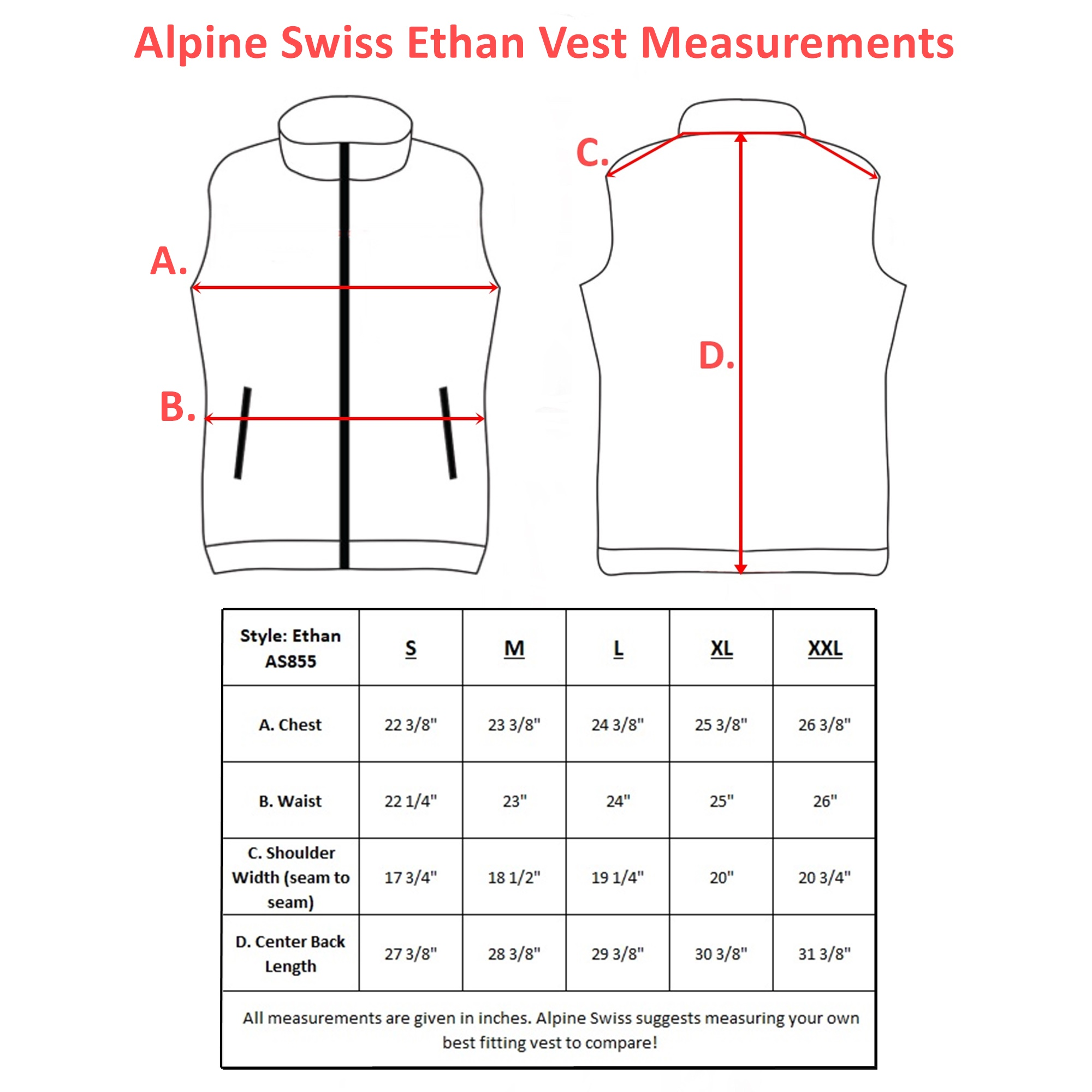 Alpine-Swiss-Mens-Full-Zip-Up-Fleece-Vest-Lightweight-Warm-Sleeveless-Jacket thumbnail 13